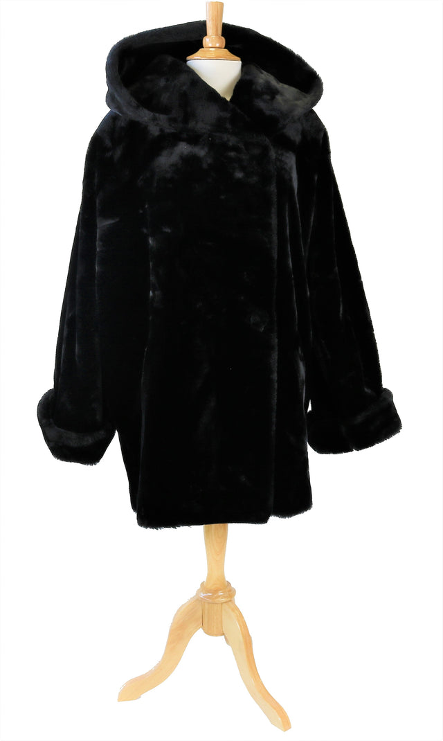 JACOB BLACK FAUX FUR COAT SIZE L