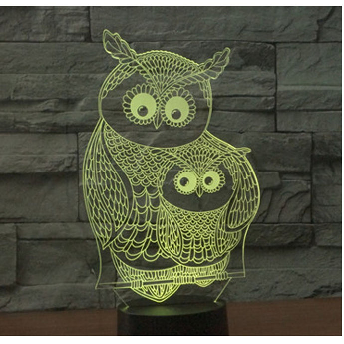 lampe led 3d hibou chouette, chambre salon decoration
