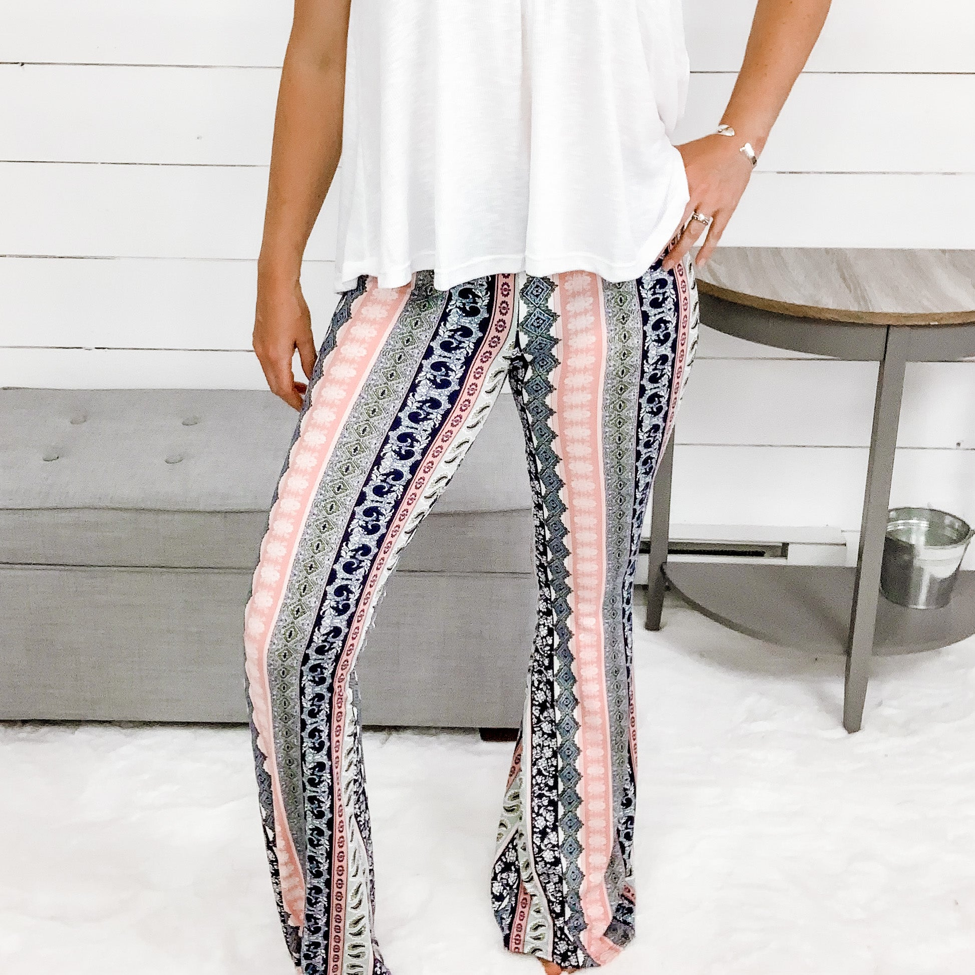 White Birch Bell Bottom Print Leggings