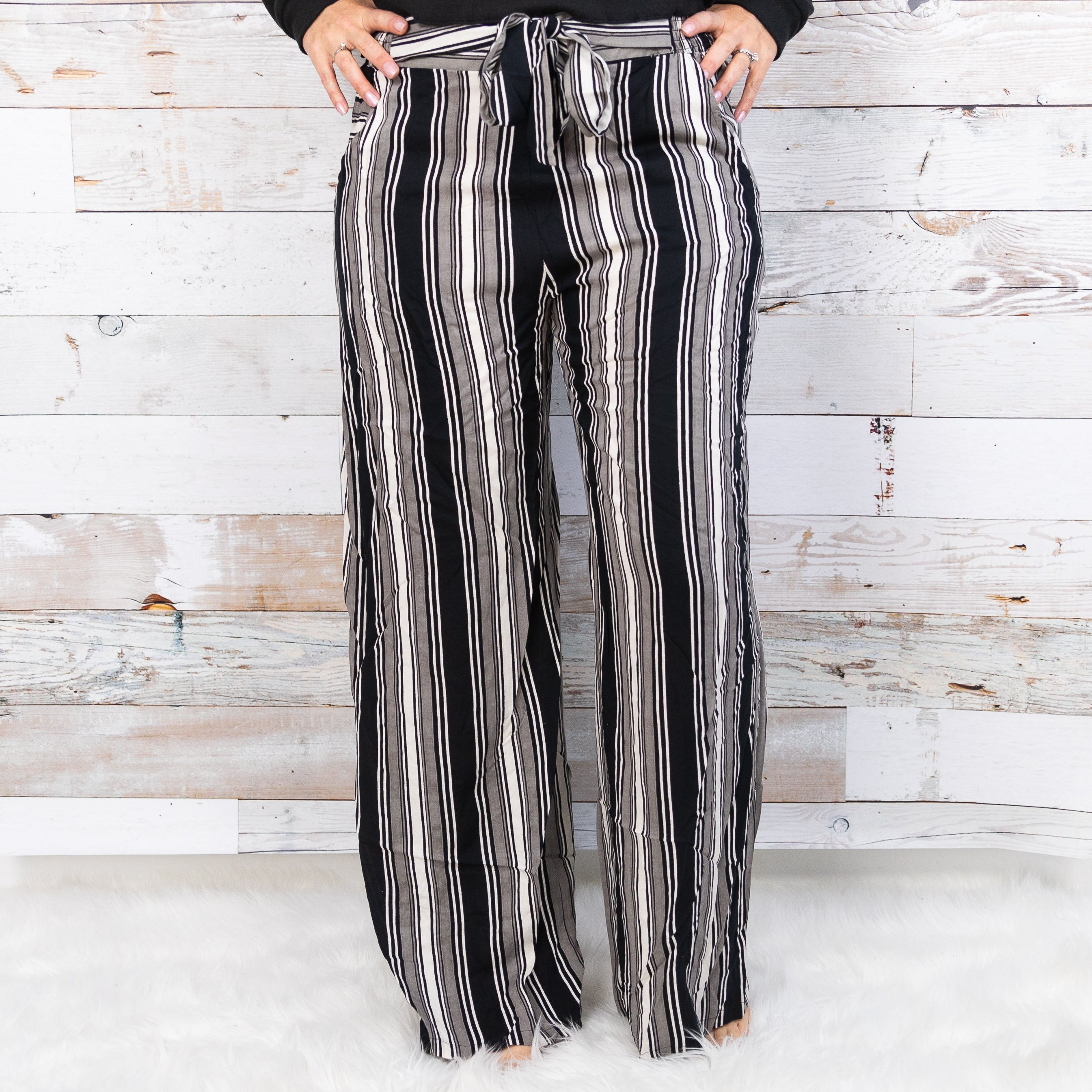 Angie Wide Leg Pants w/ Tie *Final Sale*