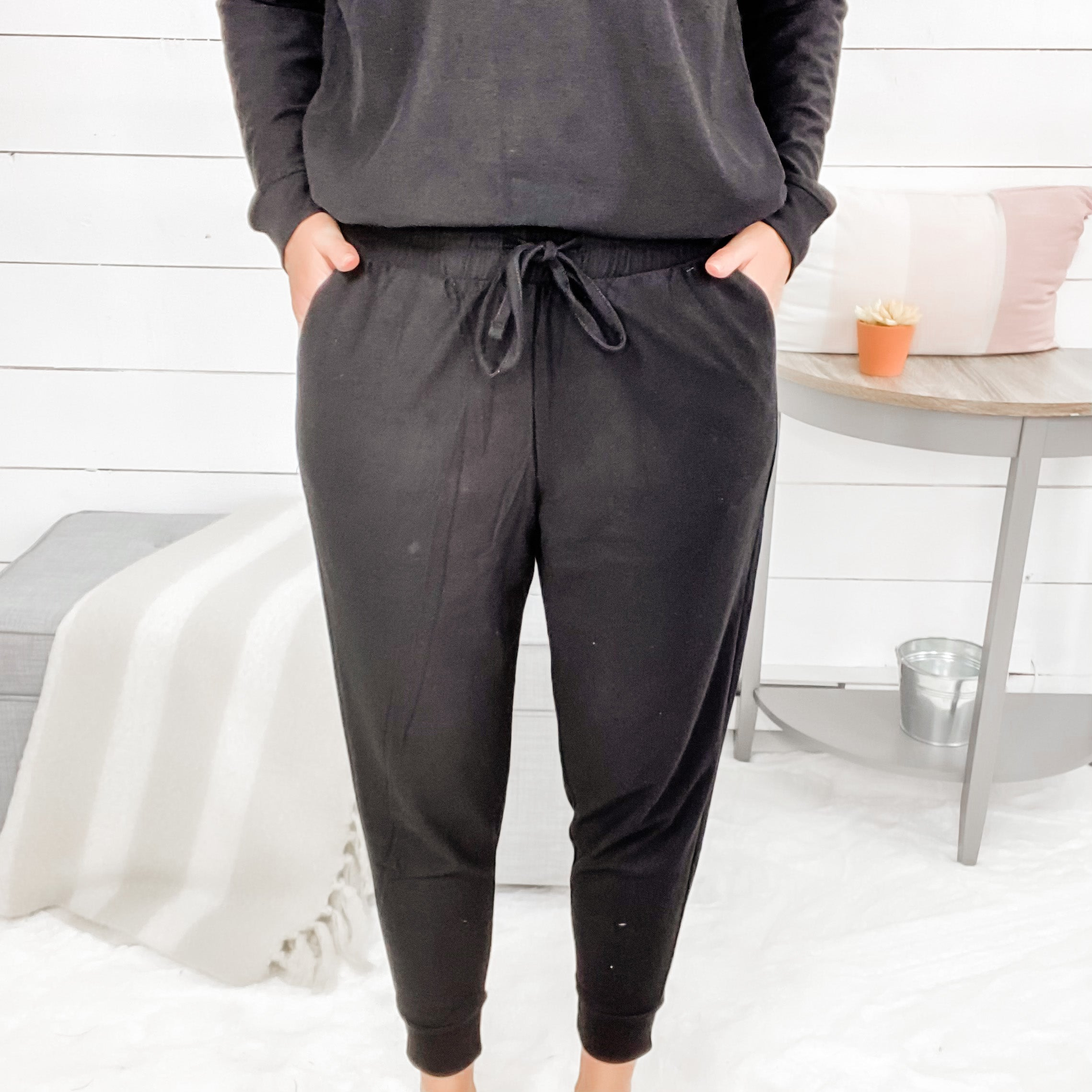Zenana French Terry Joggers w/ Elastic Waistband and Front Pockets