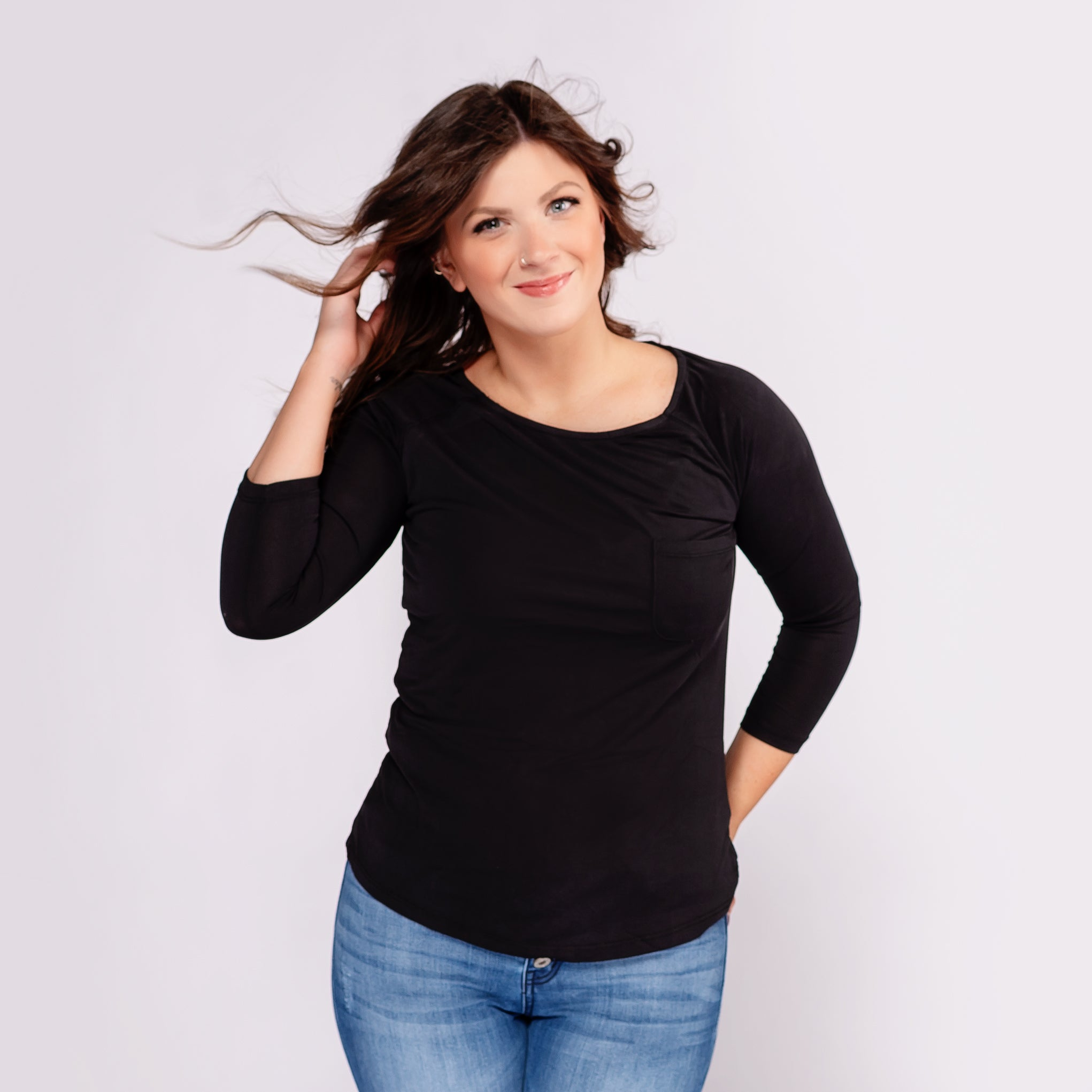 Nostalgia 3/4 Sleeve Top with Front Pocket *Final Sale*