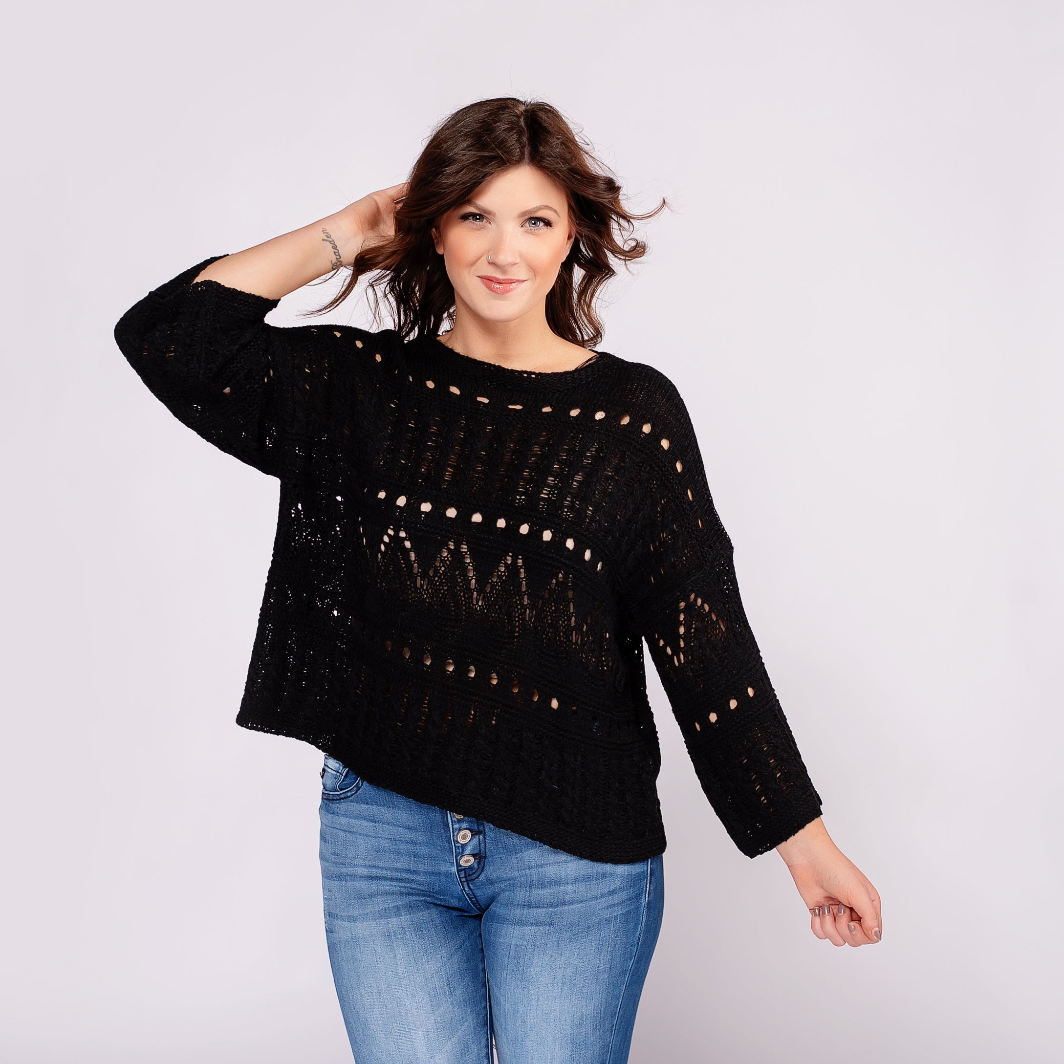 Crochet Sweater with Bell Sleeves