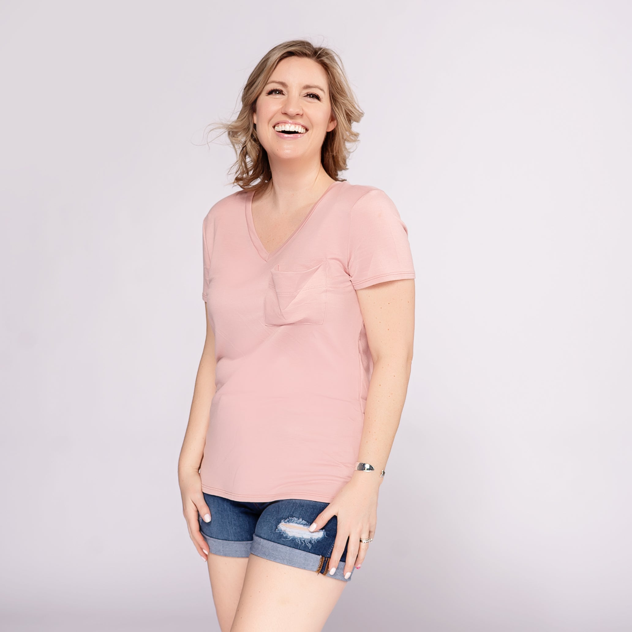 Casual V-Neck Tee with Slouchy Pocket