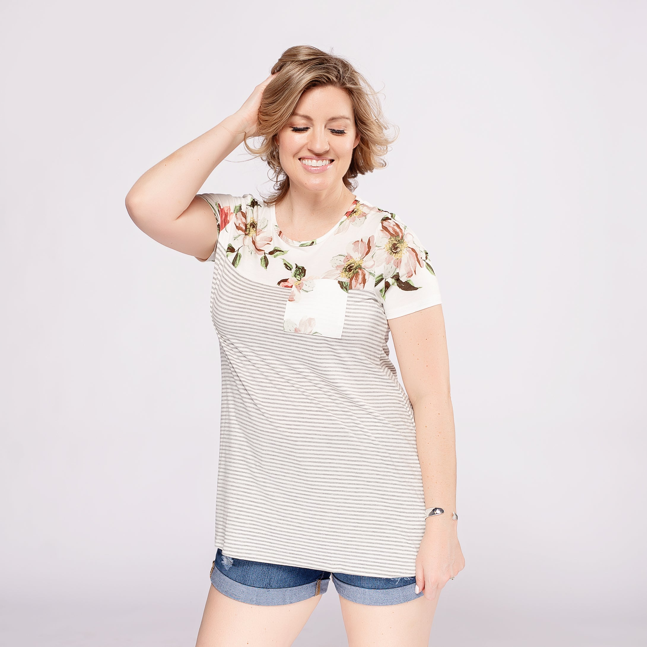 Floral Top with Pin Stripe Body