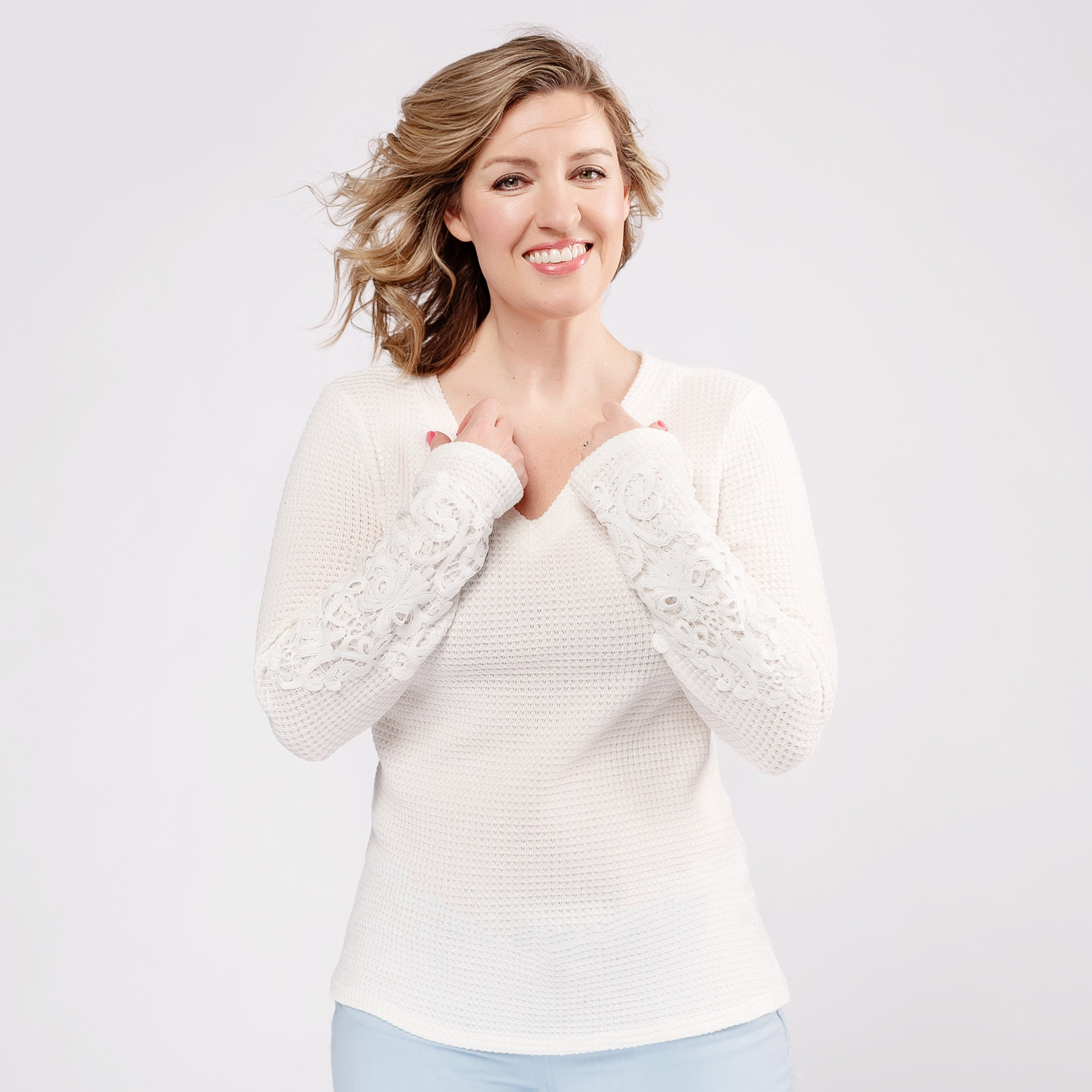 Waffle Knit Top with Lace Sleeve Detail *Final Sale*