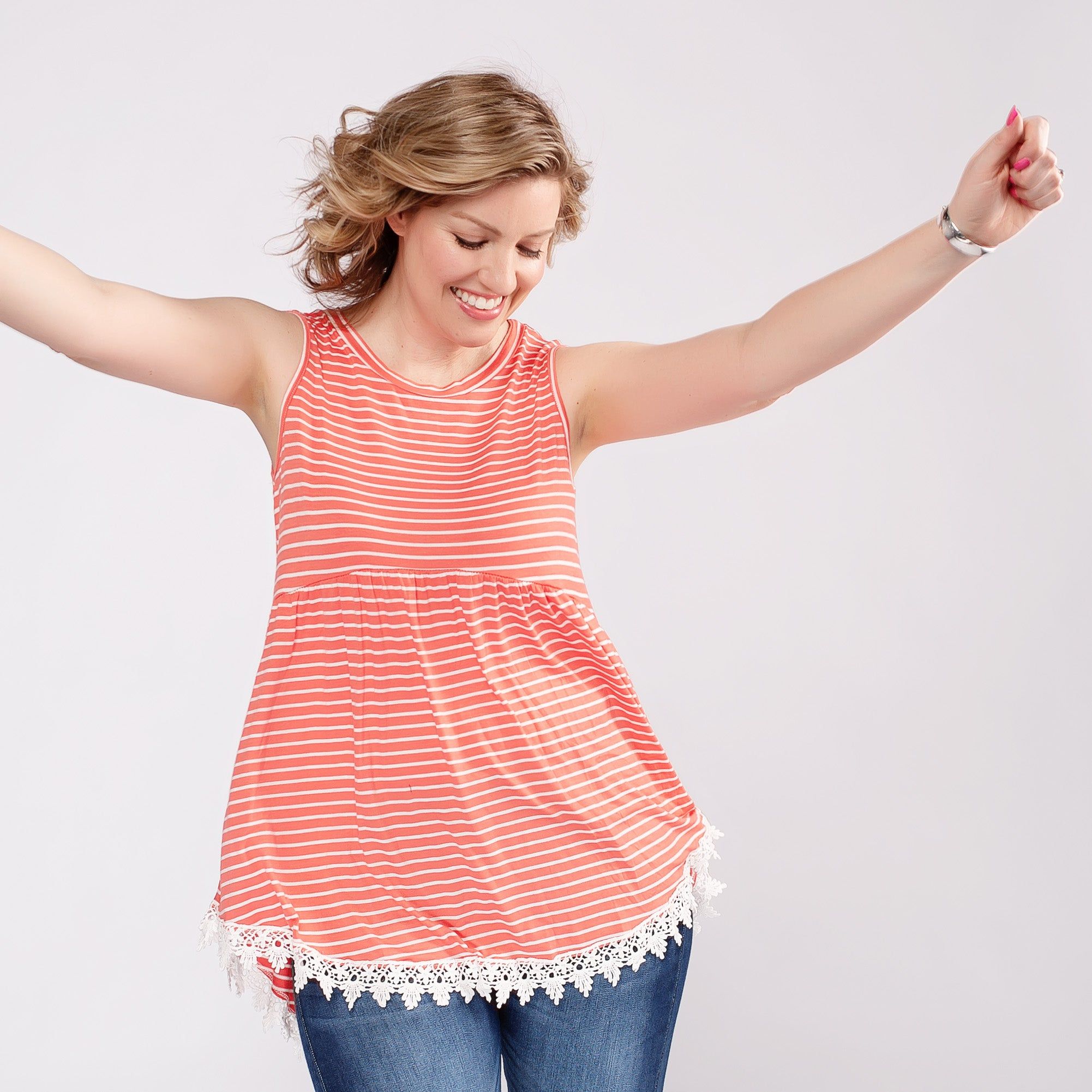Striped Baby Doll Tank Top with Crochet Trim