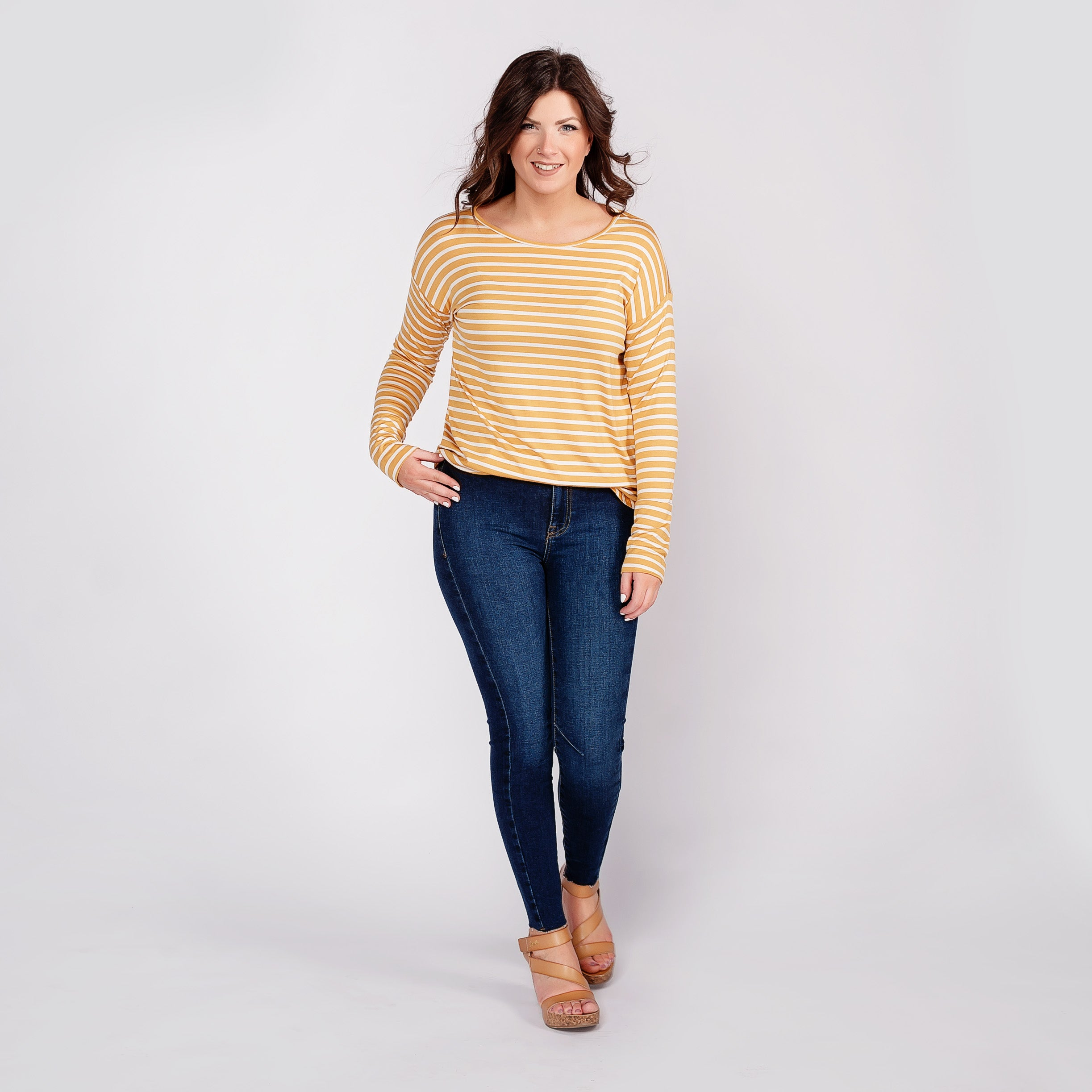 Round Bottom Striped Top with Thumb Holes *Final Sale*