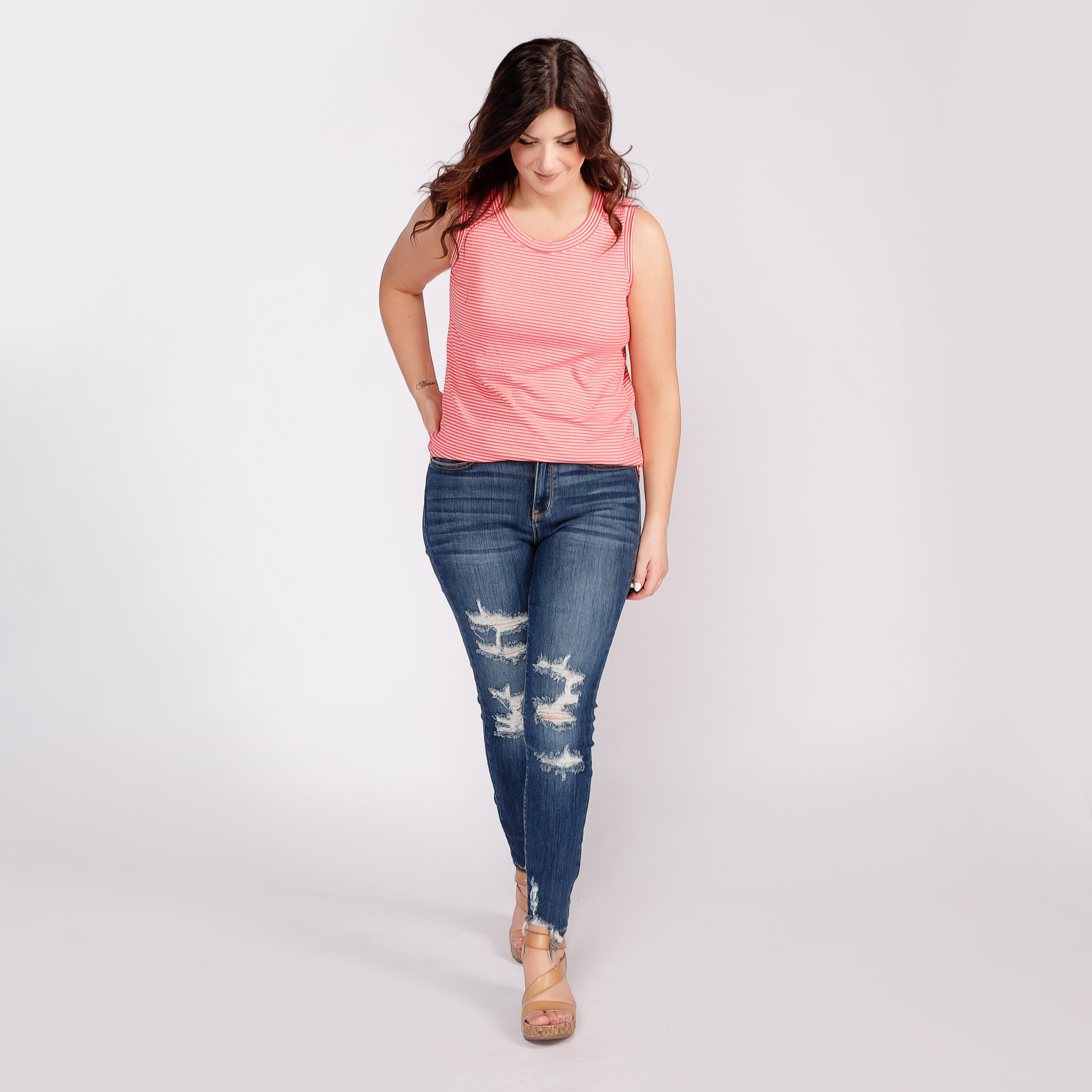 Judy Blue High Rise Distressed Cropped Skinny