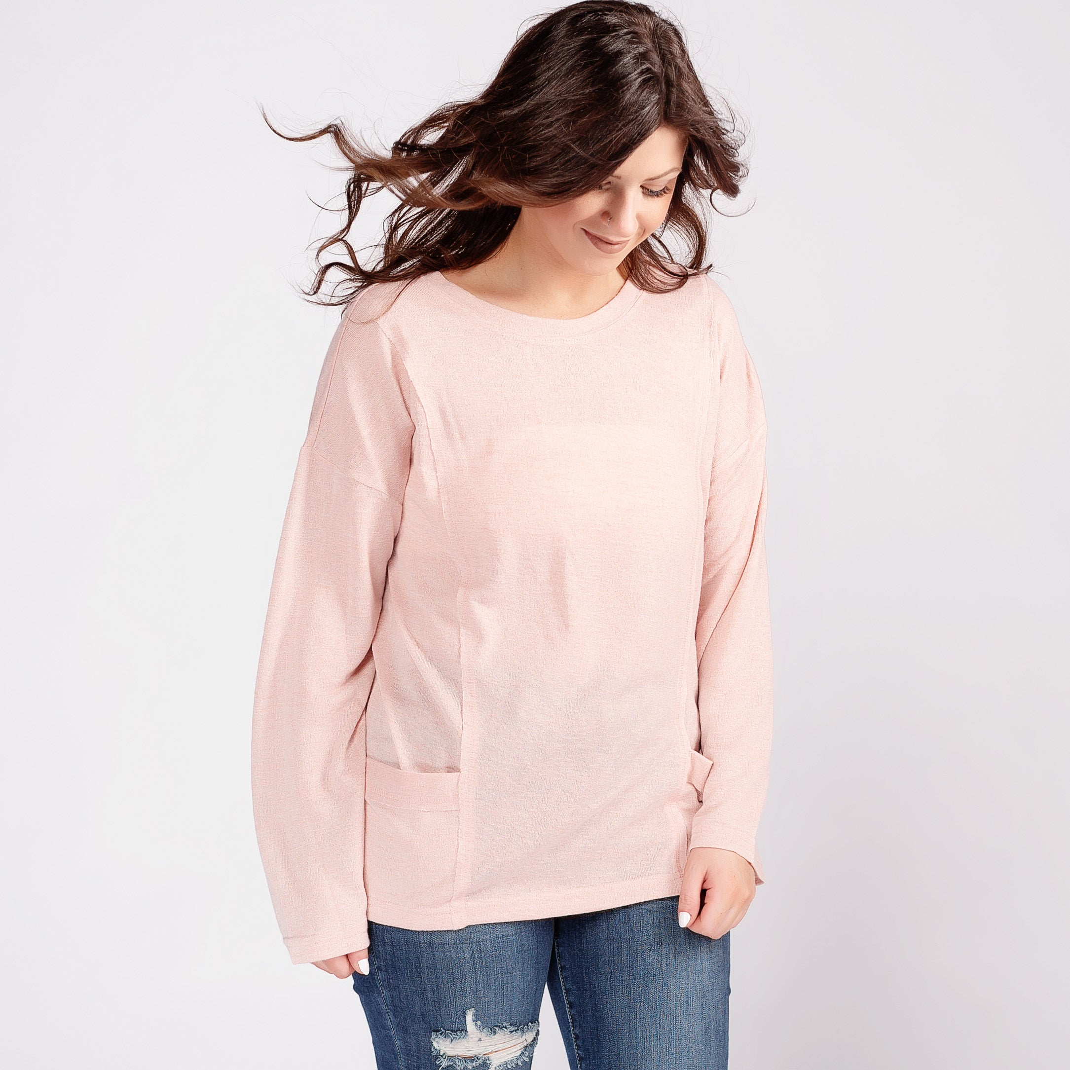 Long Sleeve Top with Side Pockets *Final Sale*