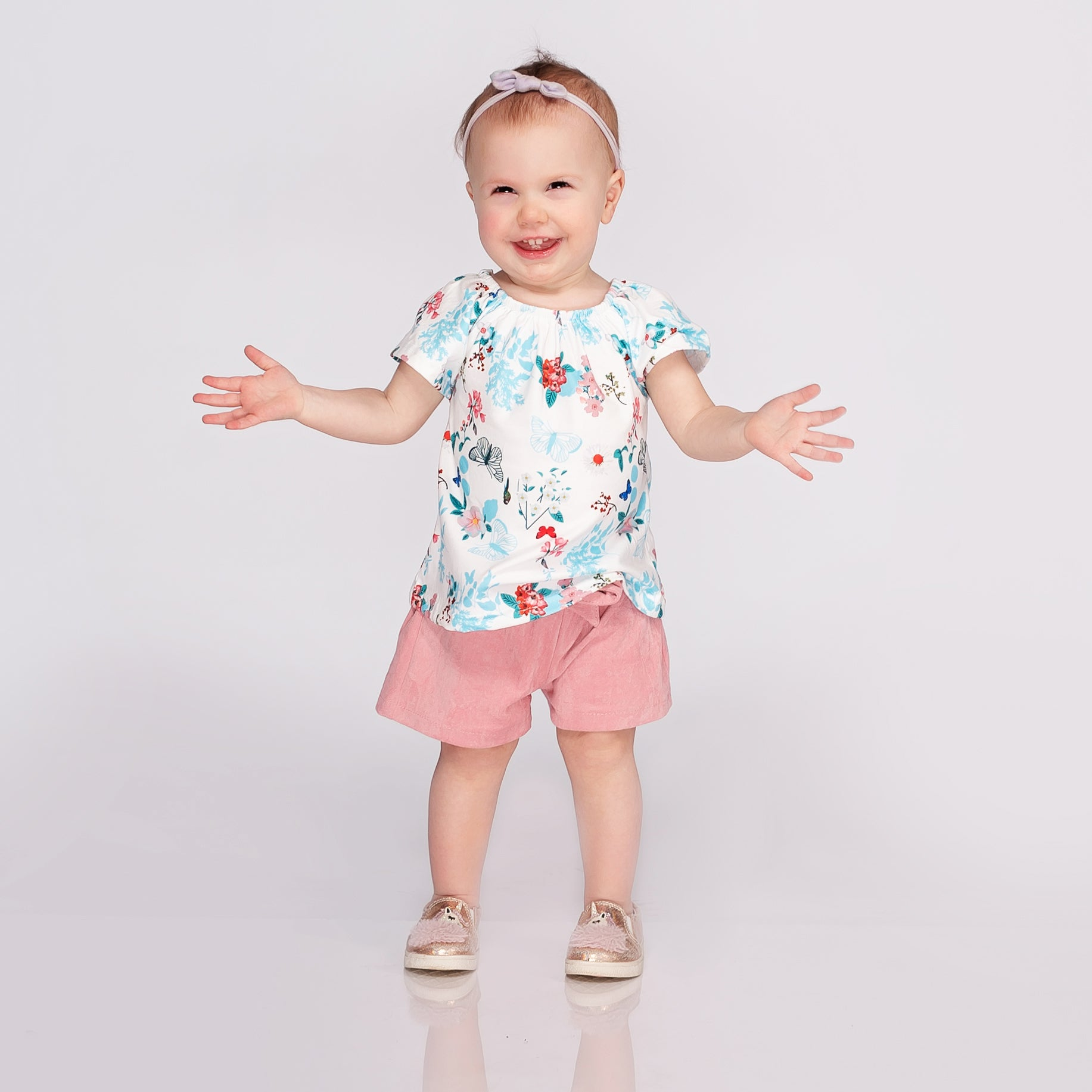 Girls Butterfly Top and Matching Shorts Set