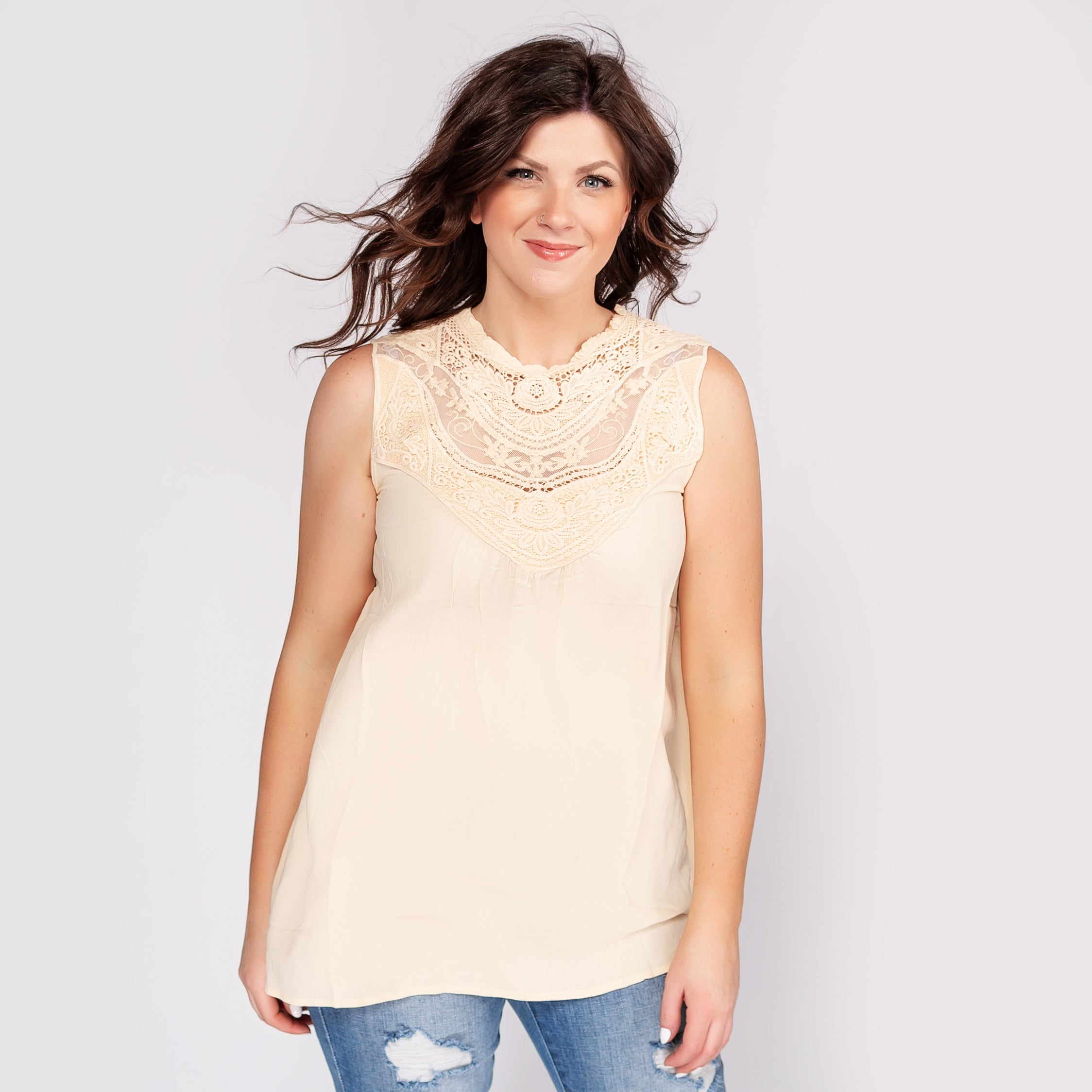 Sleeveless Top with a Vintage Boho Lace Accent Yoke