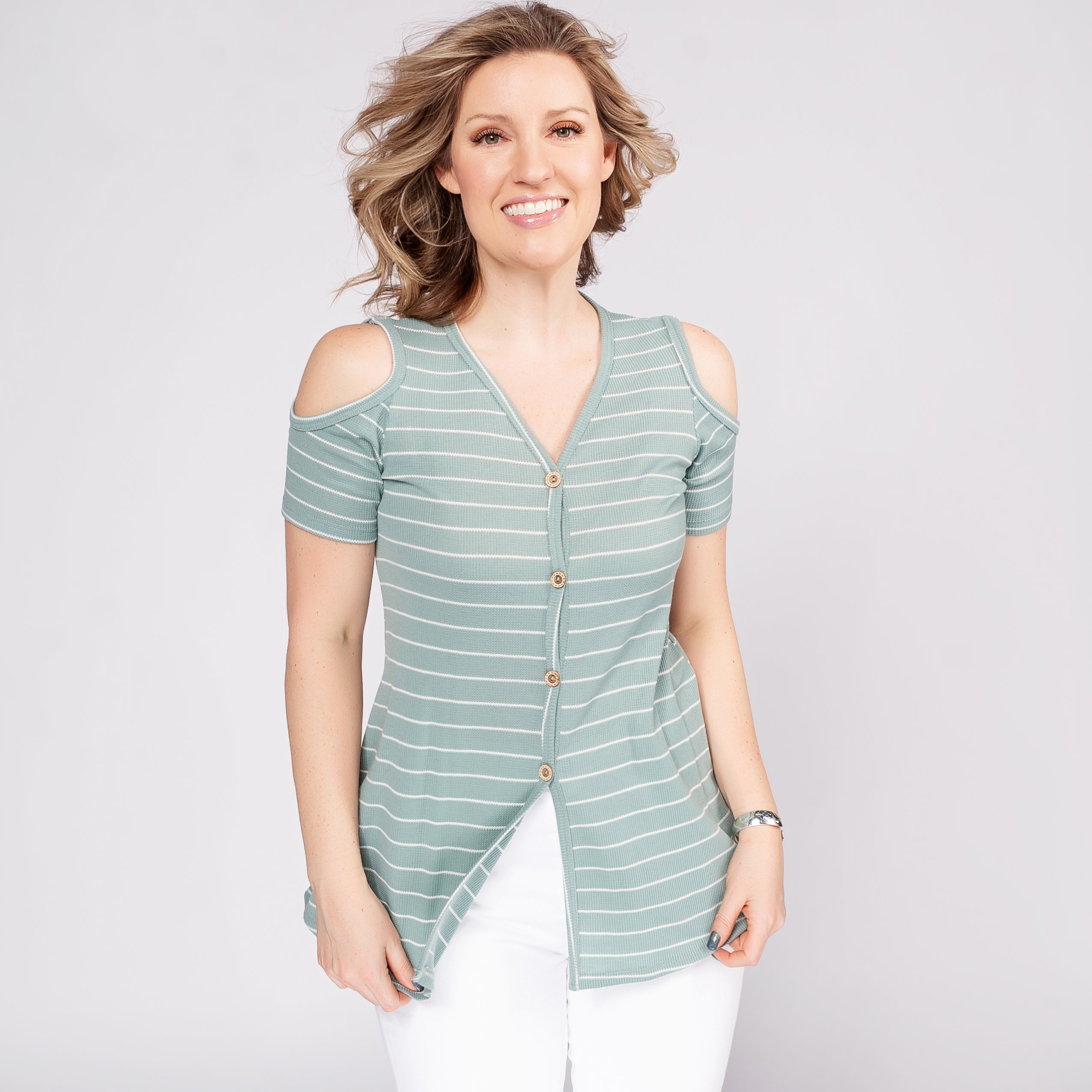 Striped Cold Shoulder Tunic with Buttons *Final Sale*