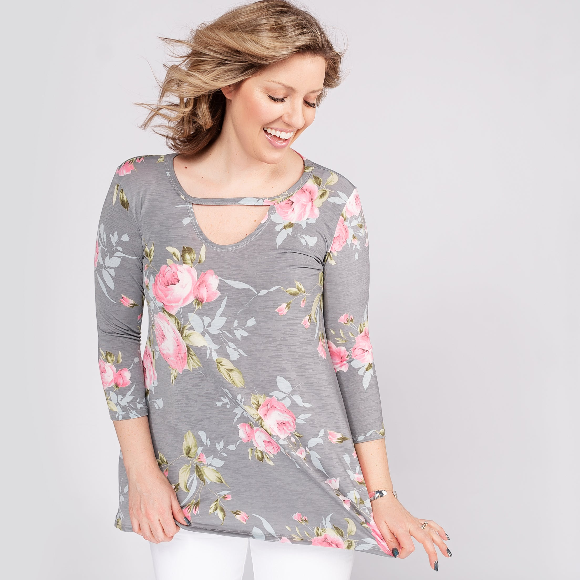 Floral Top with Keyhole