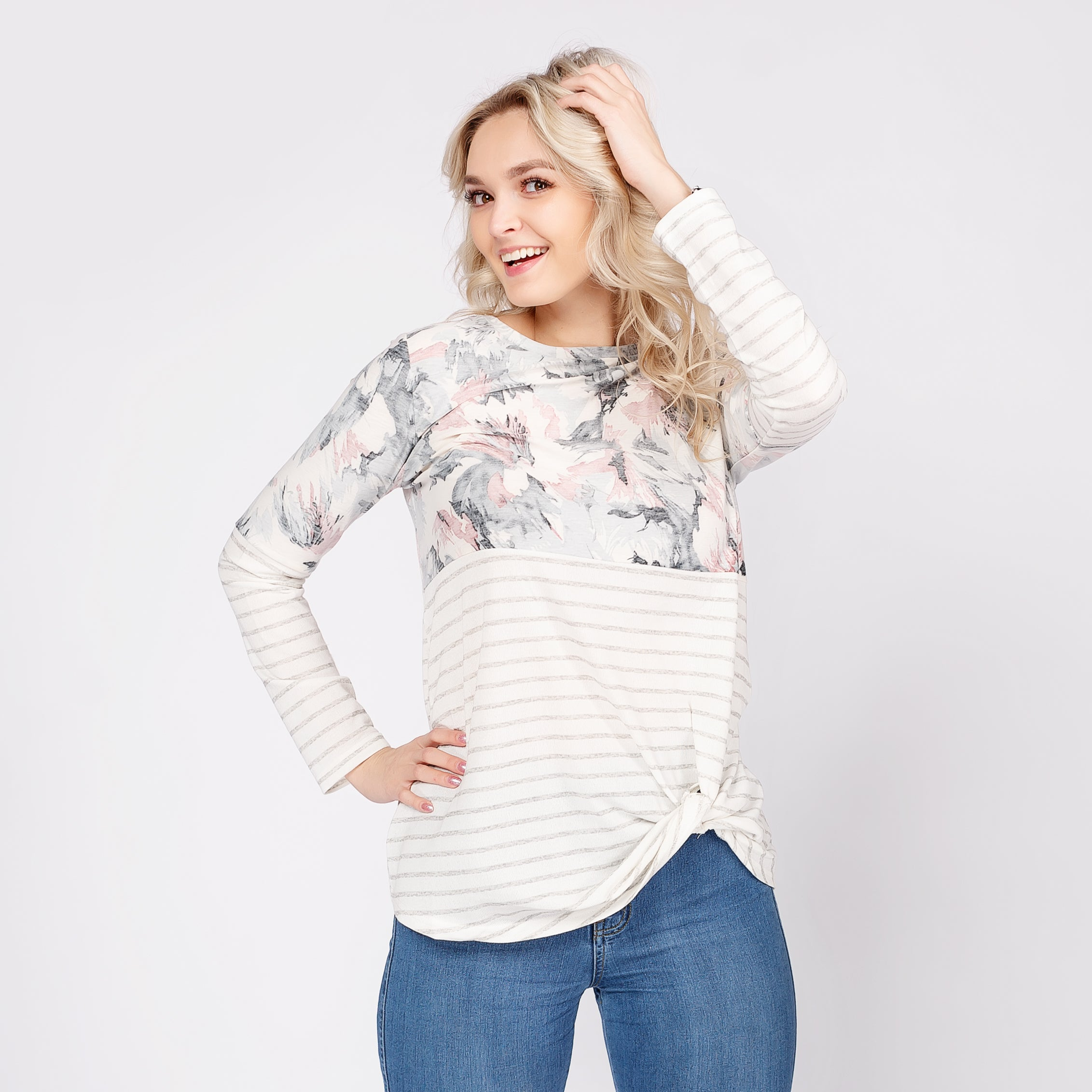 Floral Stripe Top with Twisted Knot Detail *Final Sale*