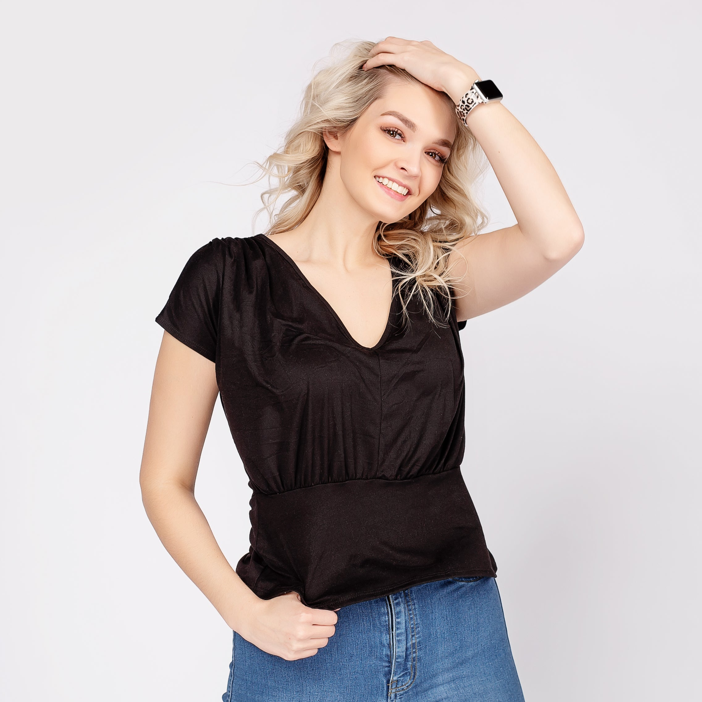 Short Sleeve V-Neck Blouse *Final Sale*