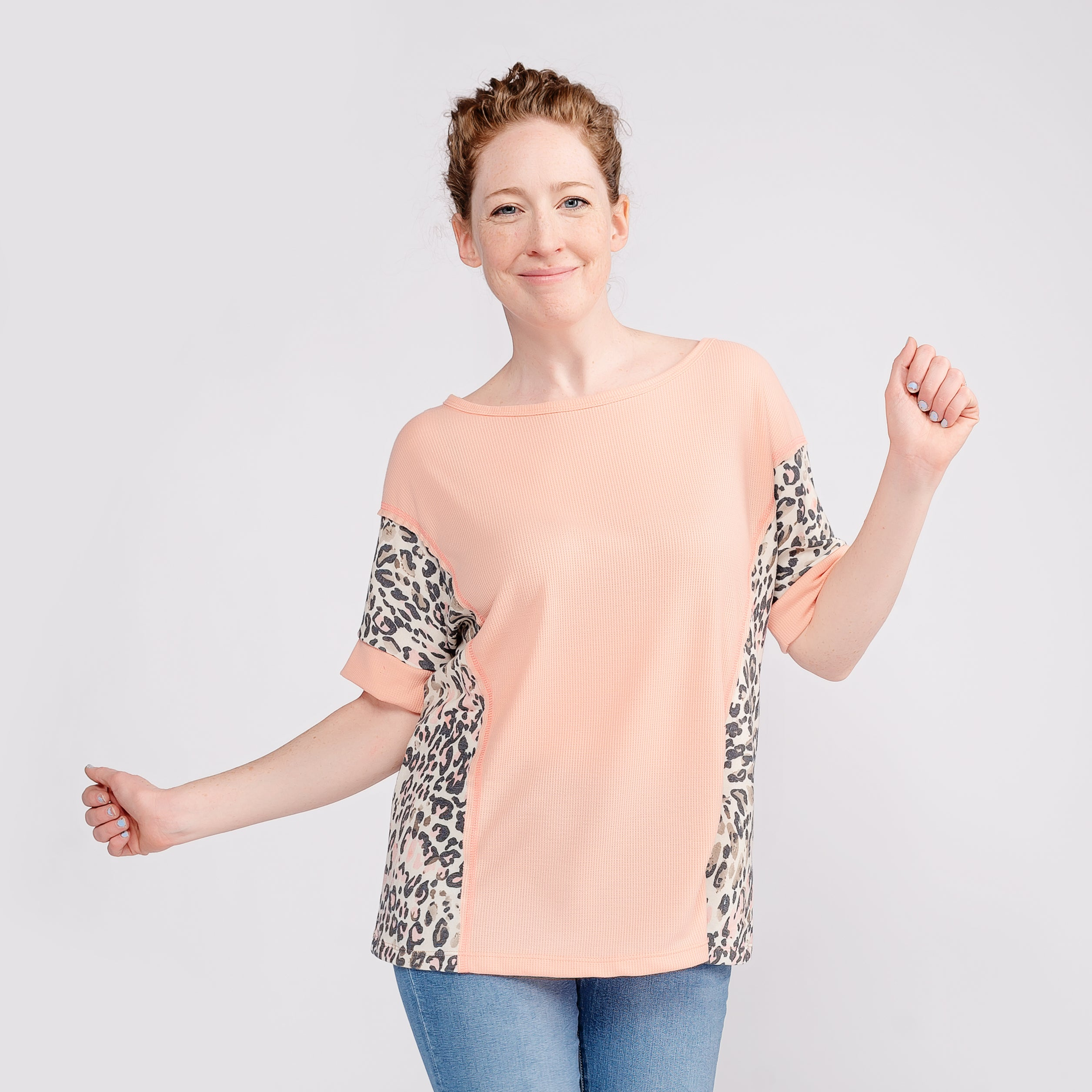 Peach Waffle Knit Top with Animal Print Contrast