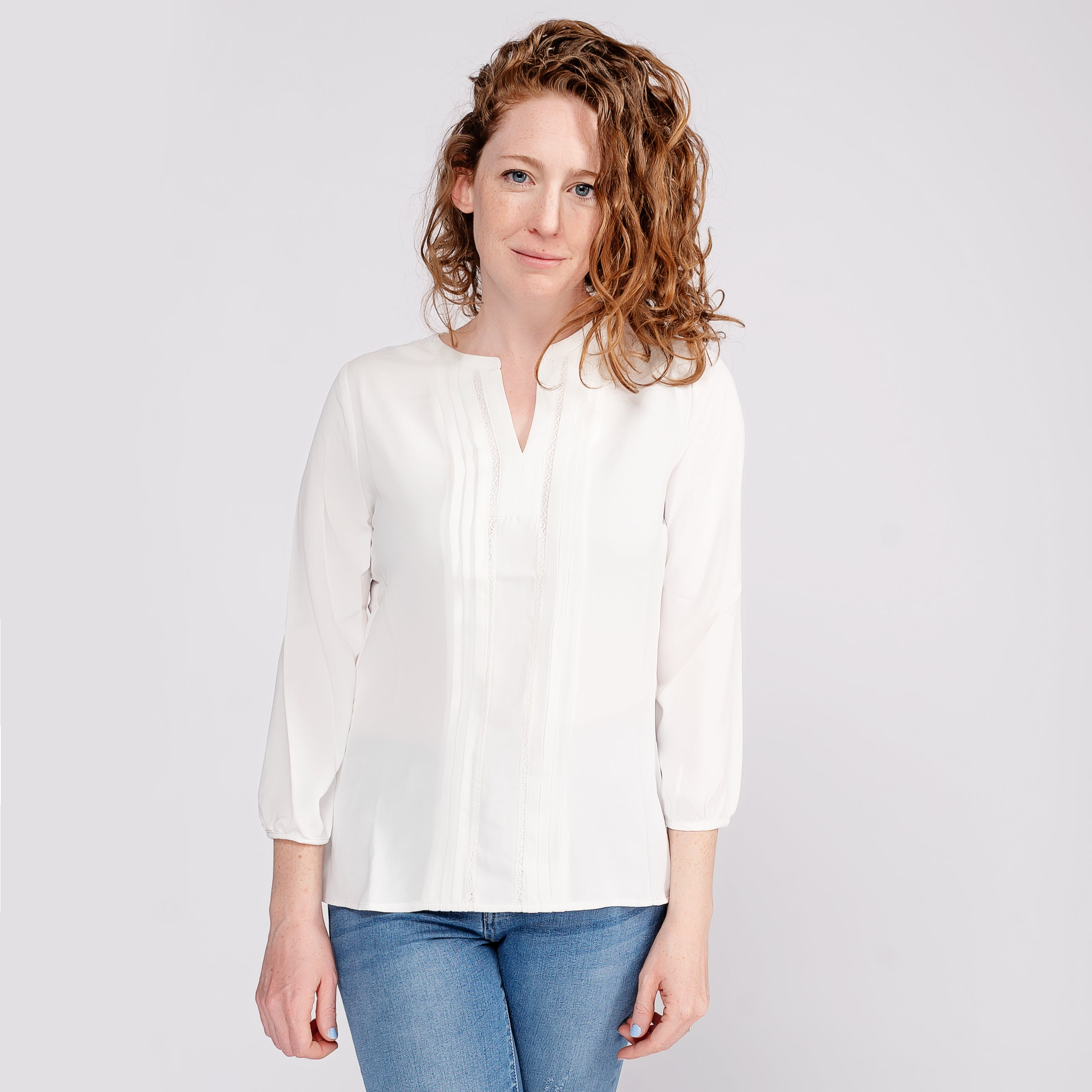 Pin Tuck Front Blouse