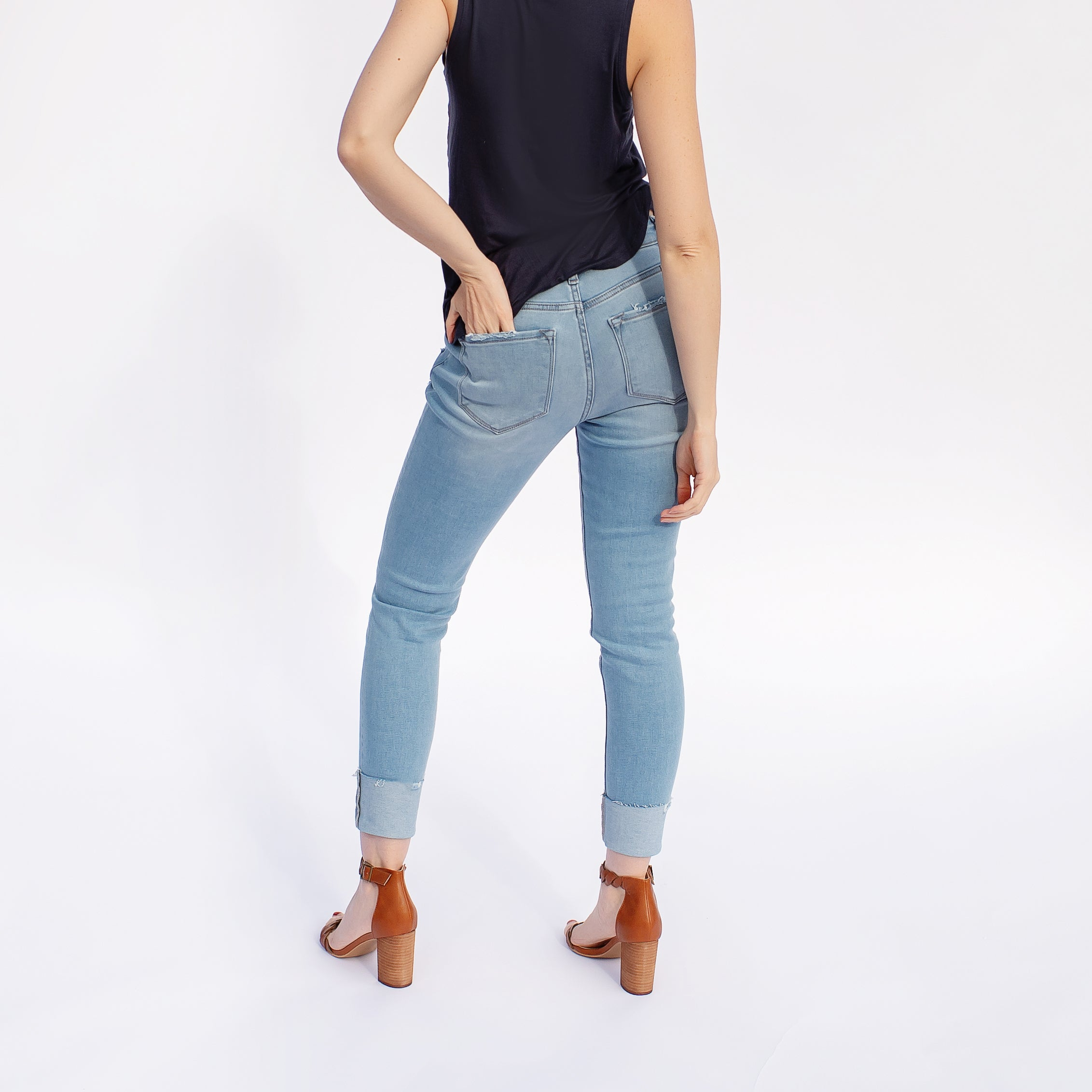 Kancan Gemma High Rise Cuffed Ankle Skinny Jeans