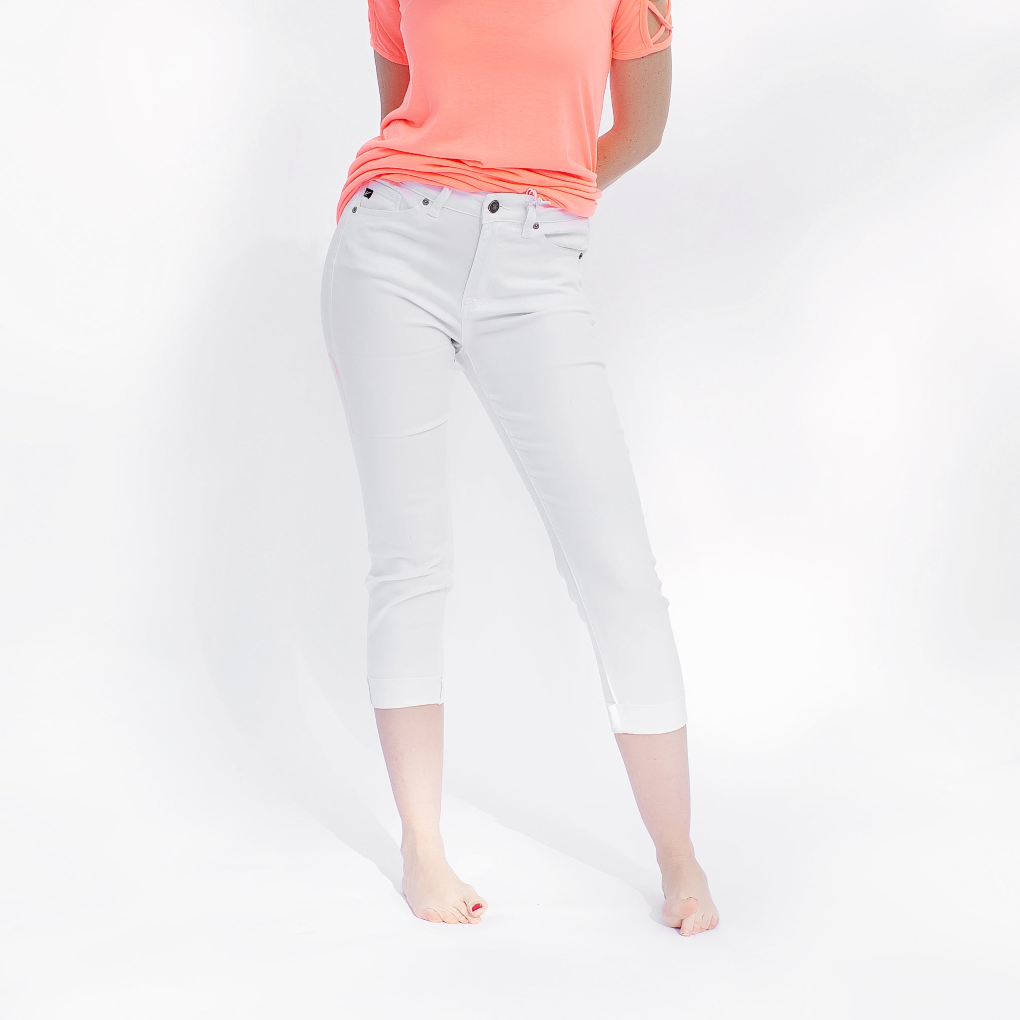 Kancan White Gemma High Rise Cropped Skinny Jeans *Final Sale*