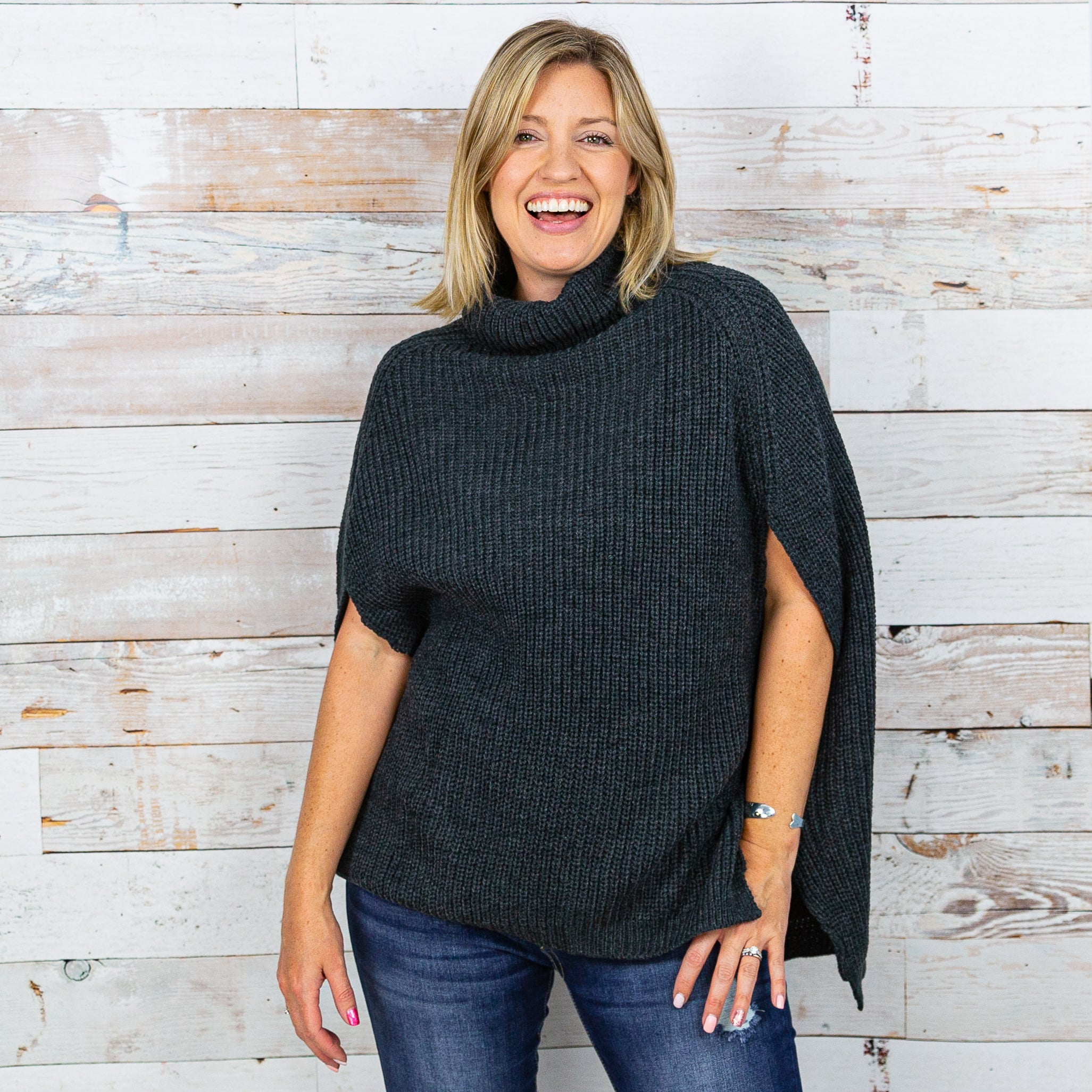 Zenana Turtleneck Poncho Sweater