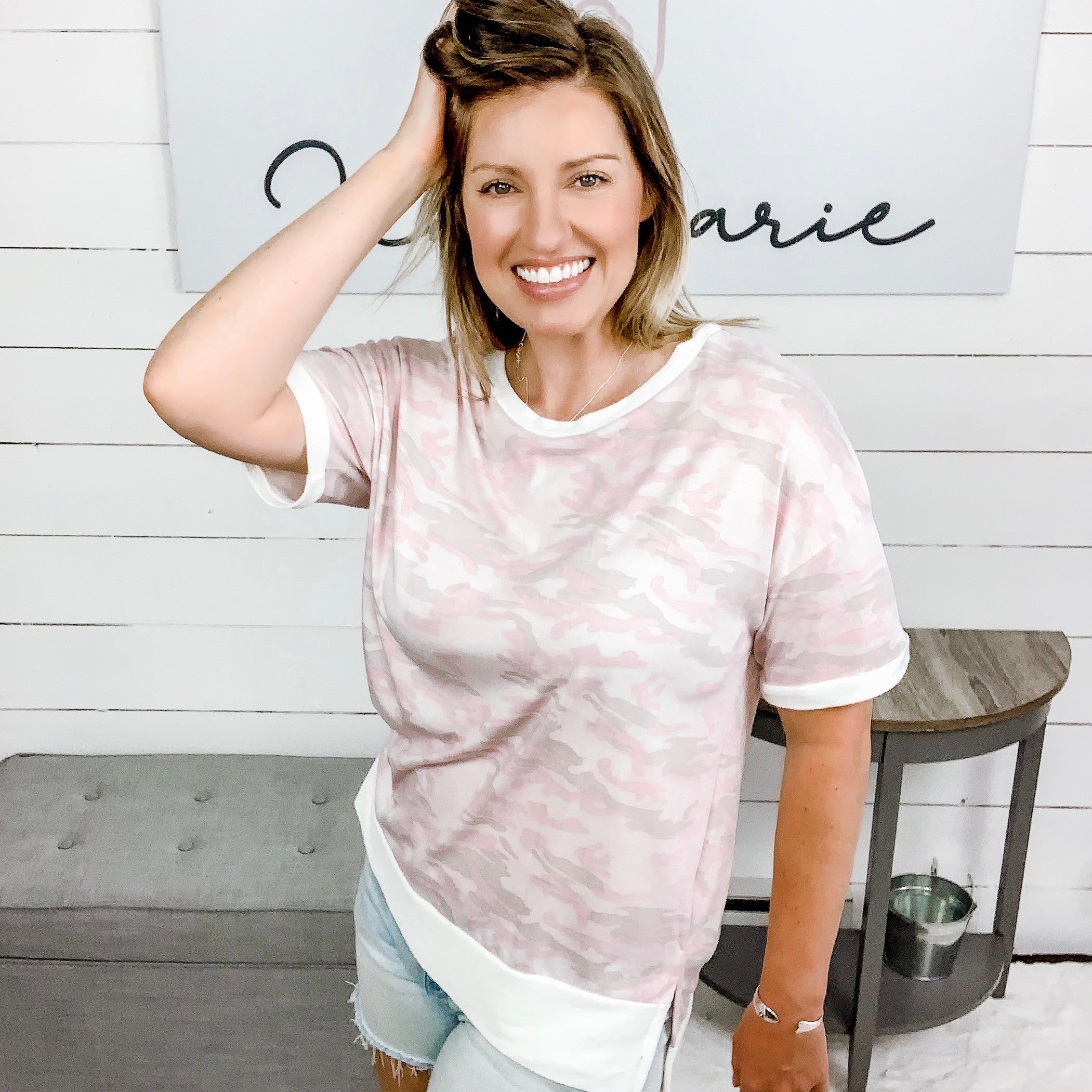 White Birch Short Sleeve High Low Pink Camo Top