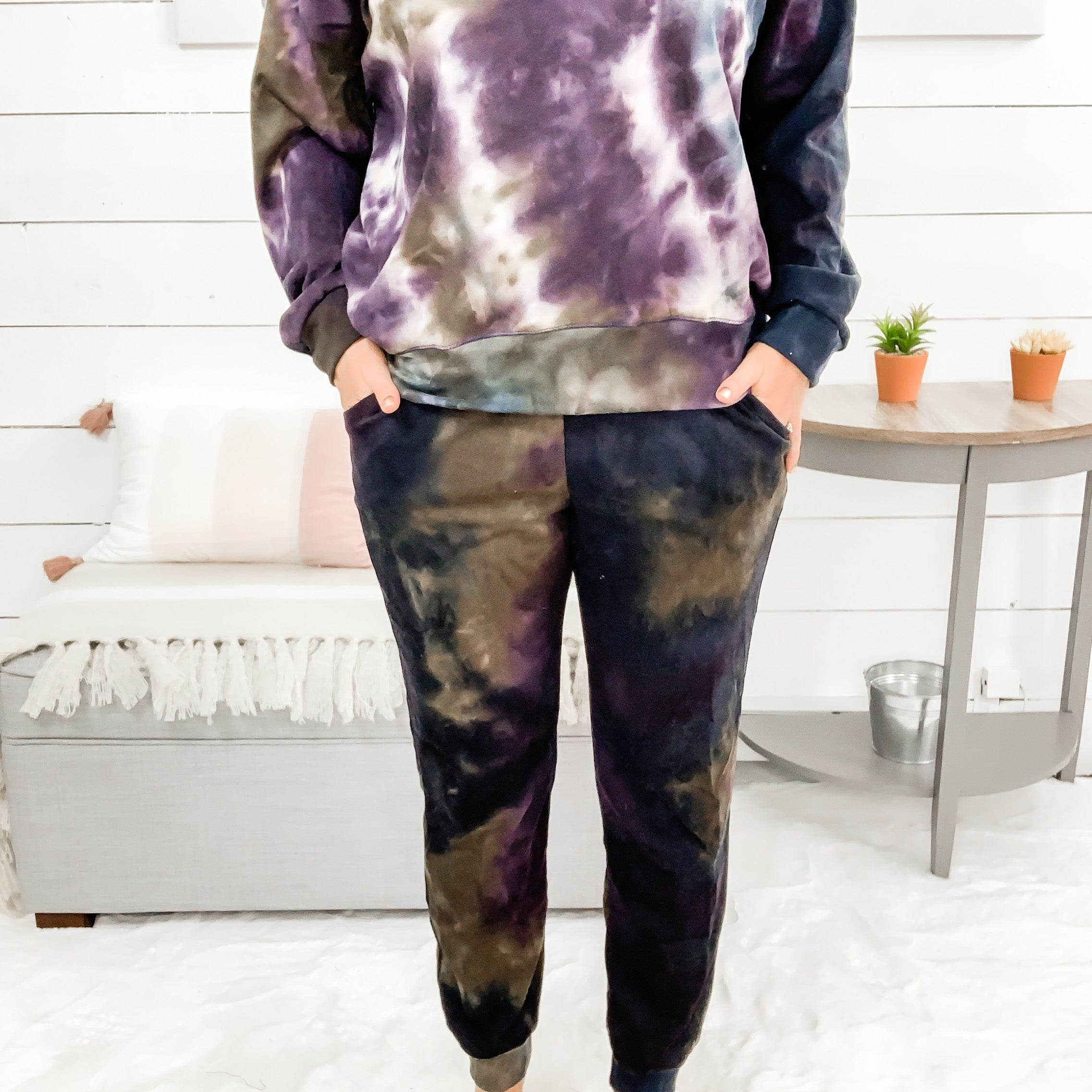 White Birch Deep Purple Tie Dye Sweatpants