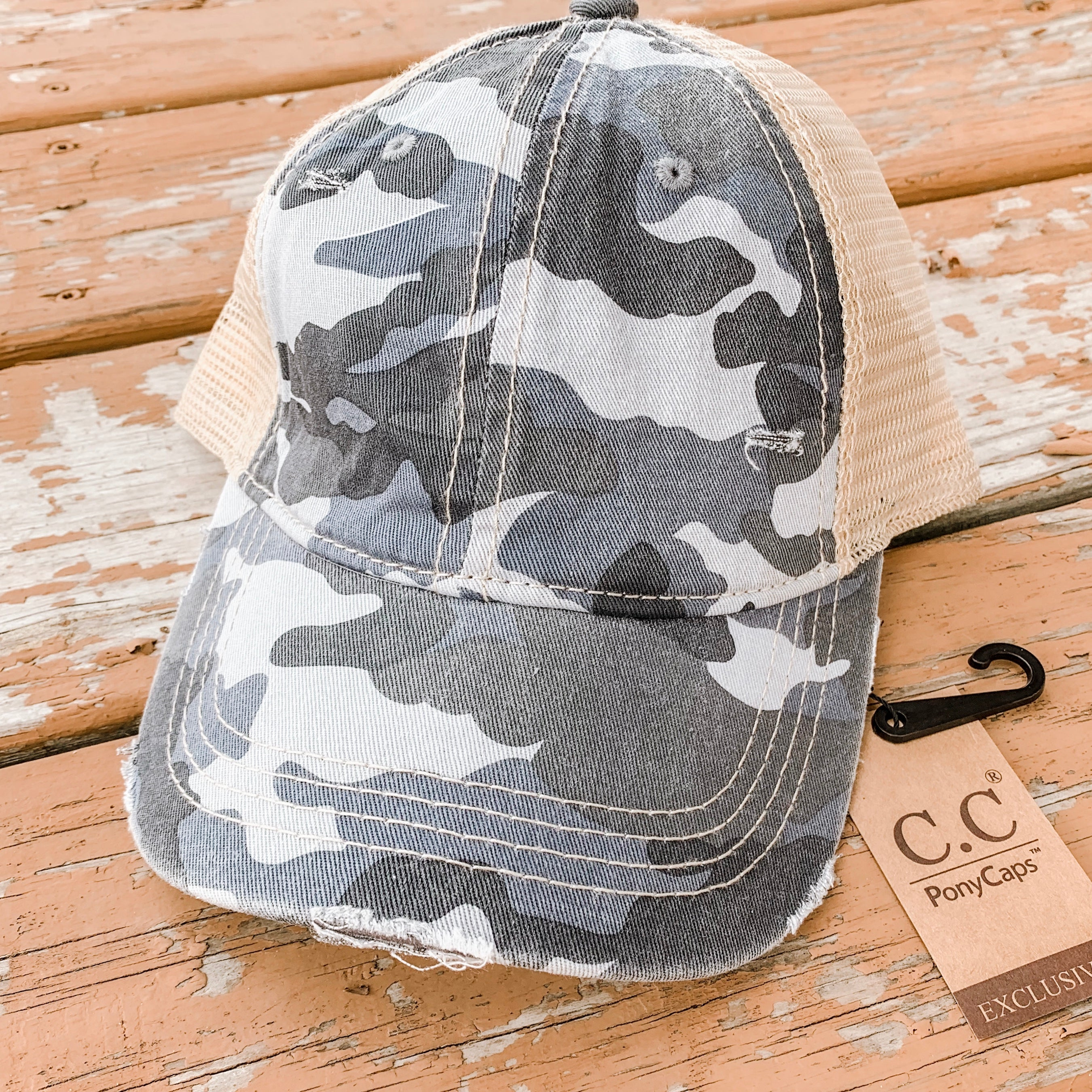 CC Camo Distressed Vintage Hat w/ Ponytail Hole