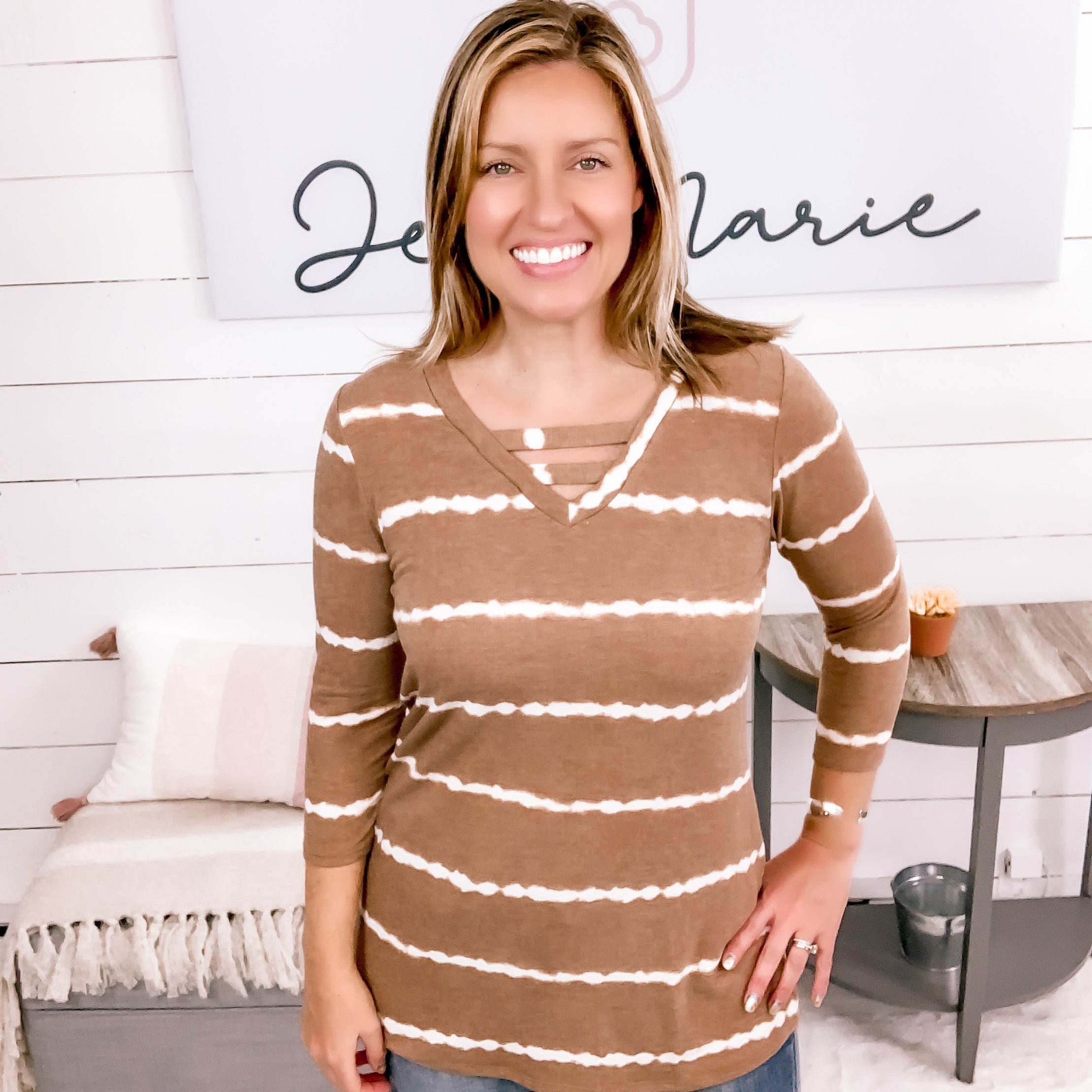 honeyme 3/4 Sleeve, Striped Camel Top w/ Strap Detail