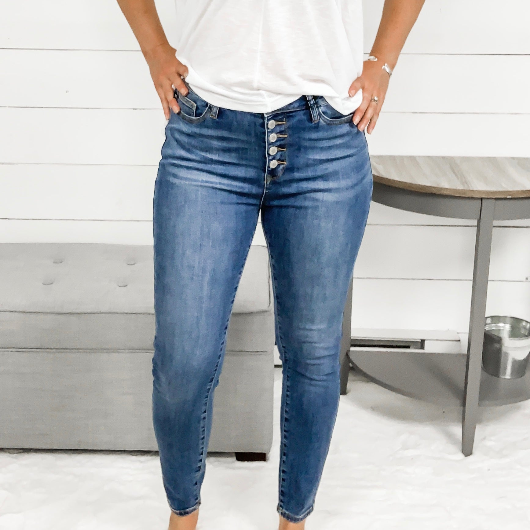 Judy Blue Button Fly Non-Distressed High Waist Skinny Jeans