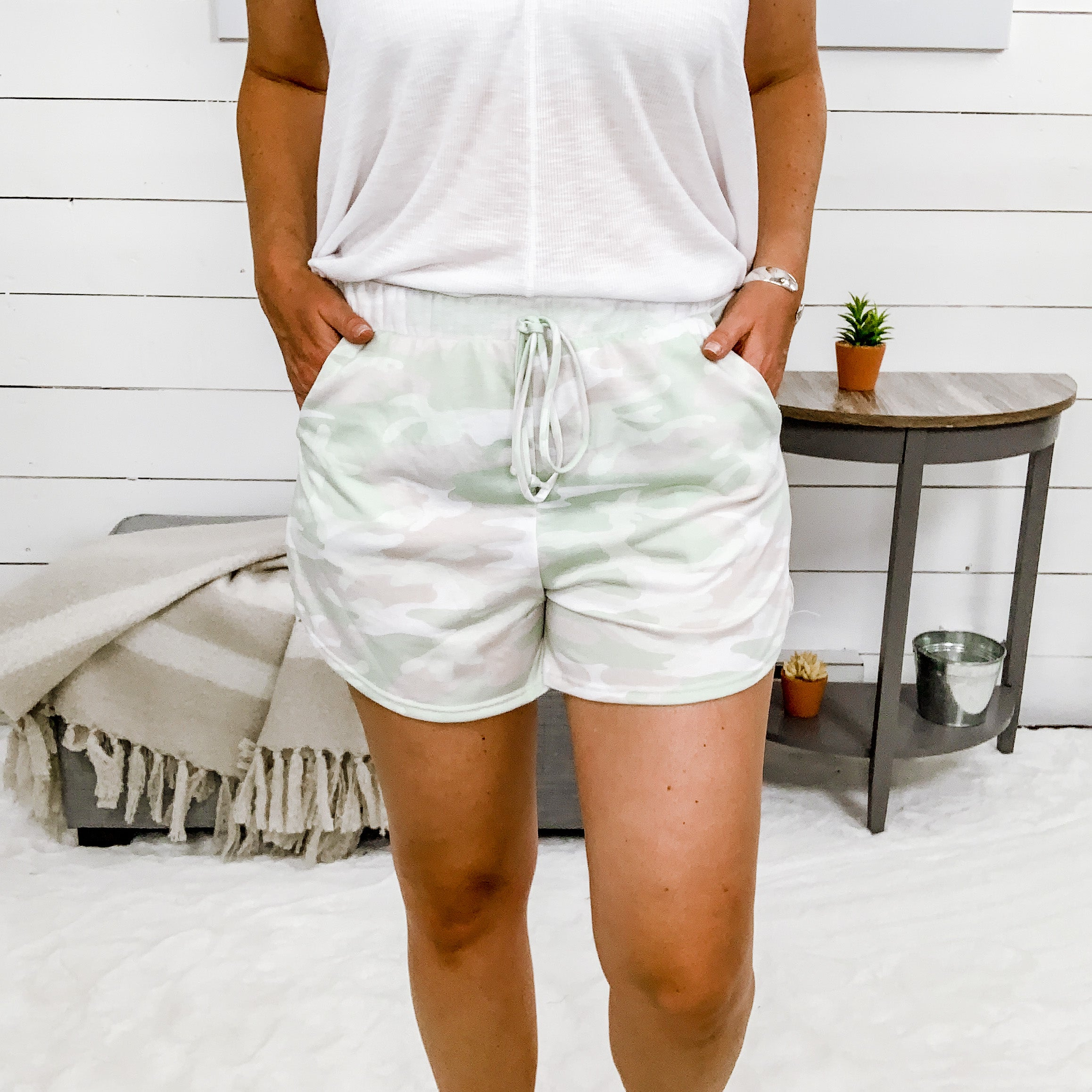 White Birch Camo Print Shorts w/ Side Pockets and Elastic Waist
