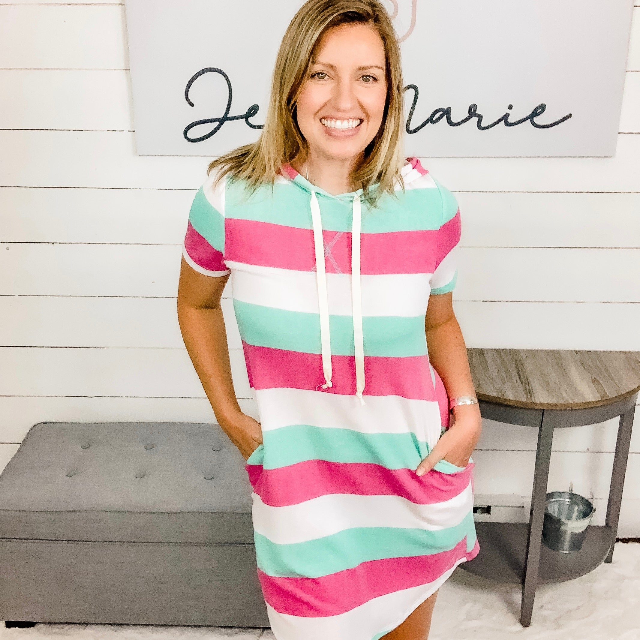 Short Sleeved Striped Dress w/ Hood and Pockets