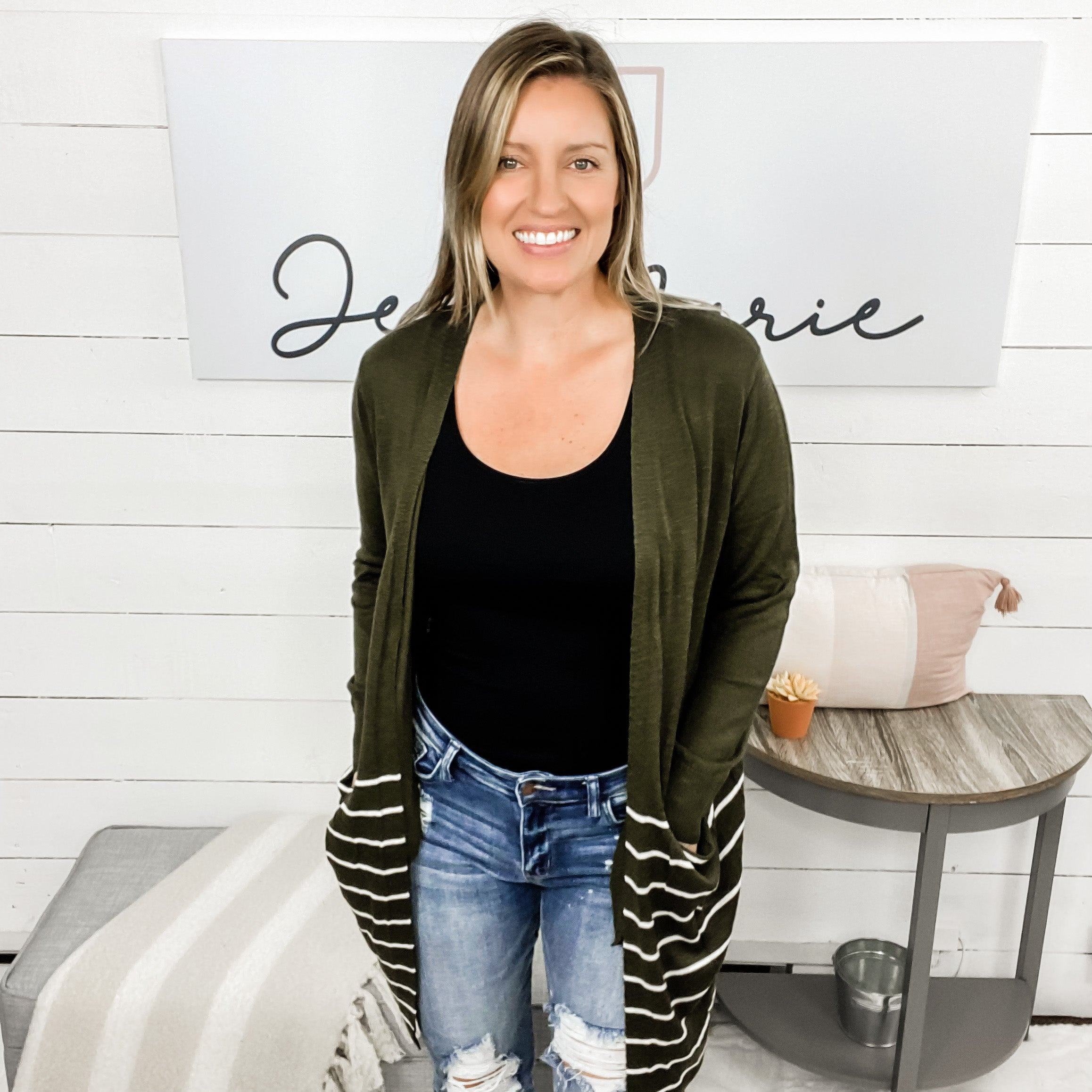 BLACK FRIDAY-Long Sleeved Open Cardigan w/ Solid Top & Striped Bottom
