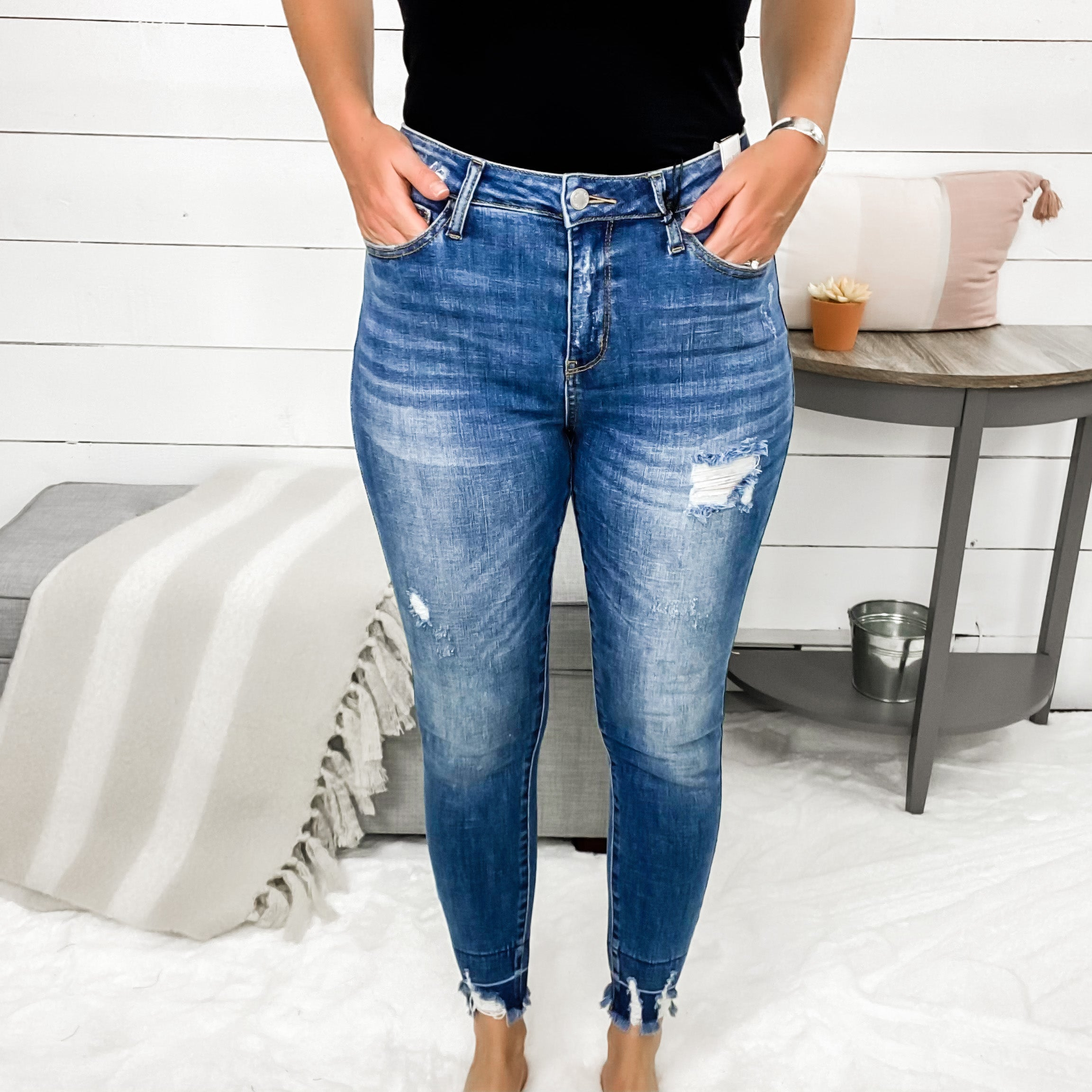 Judy Blue High Waisted Destroyed Skinny Jeans w/ Released Hem