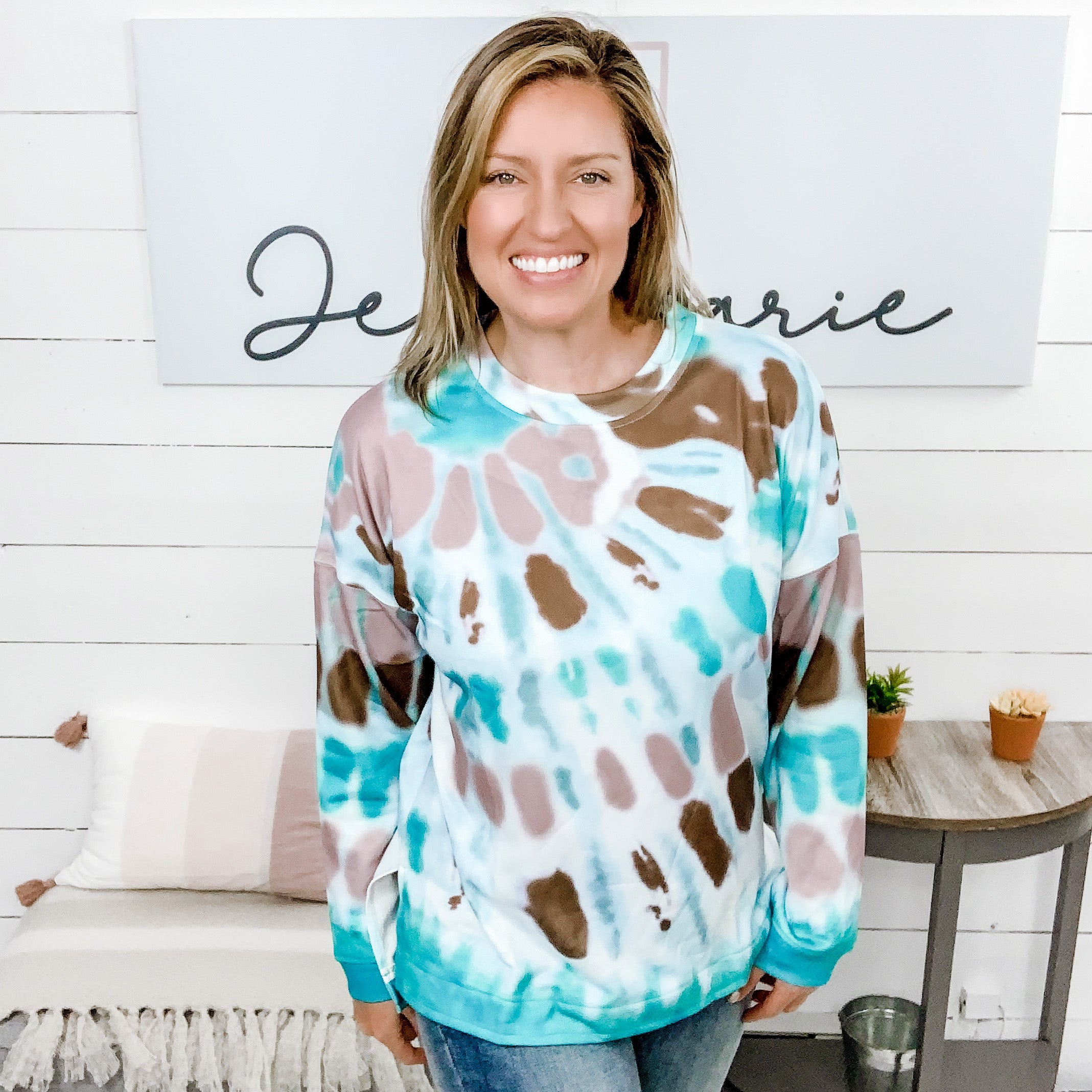 Long Sleeved Hi-Low Hem, Aqua/Mocha/Brown Tie Dye Top