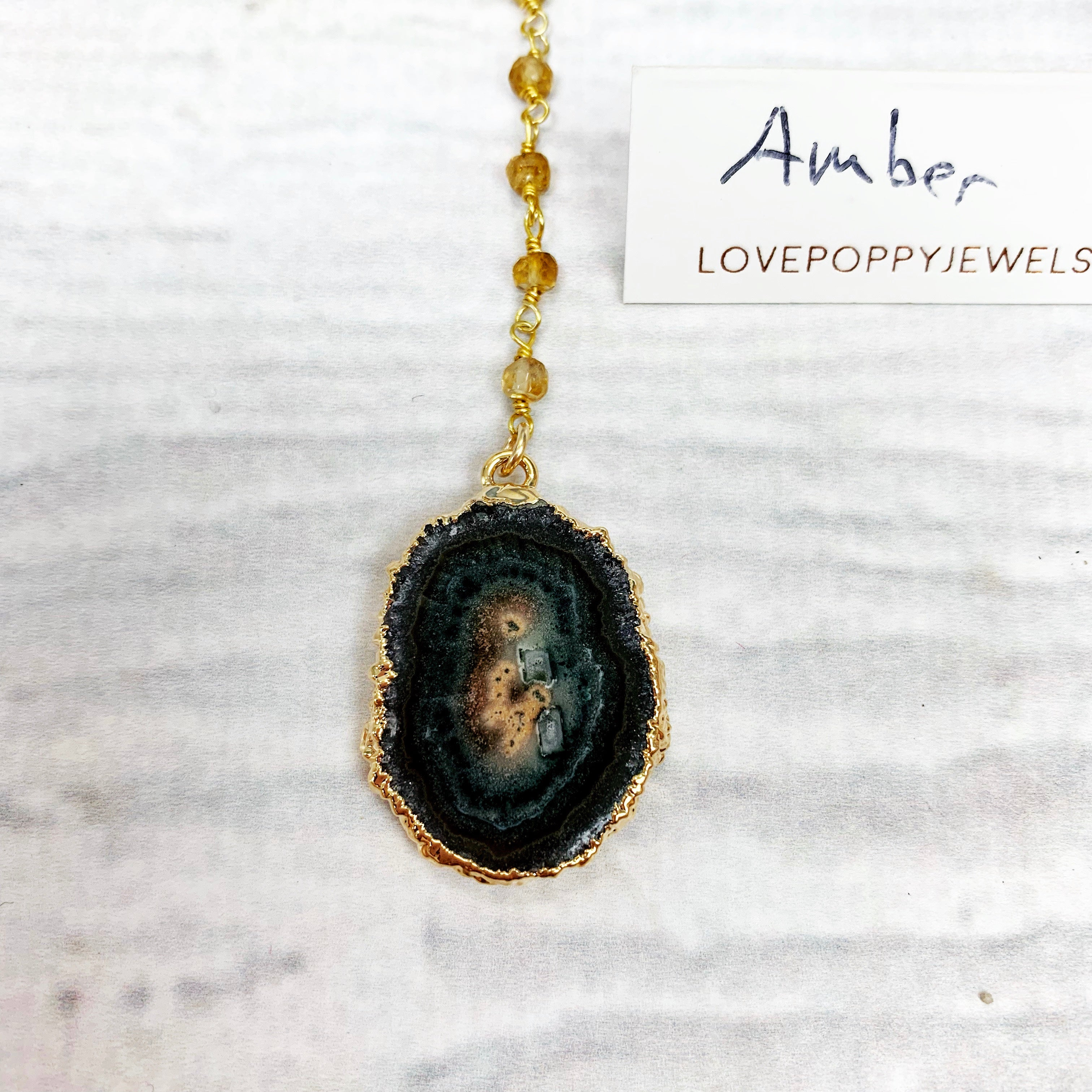 Love Poppy Rosary Y Gold Druzy Necklace