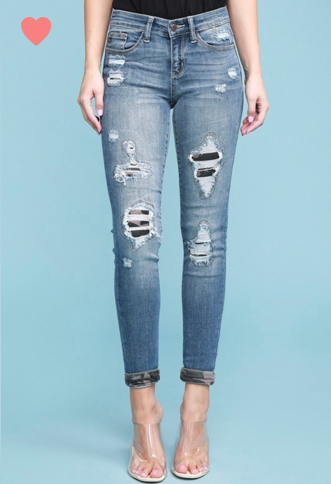 Judy Blue Mid Rise Camo Patch Jeans