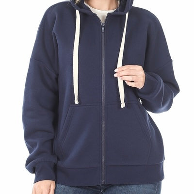 Zenana Plus Zip Up Hooded Sweatshirt w/ Front Pockets
