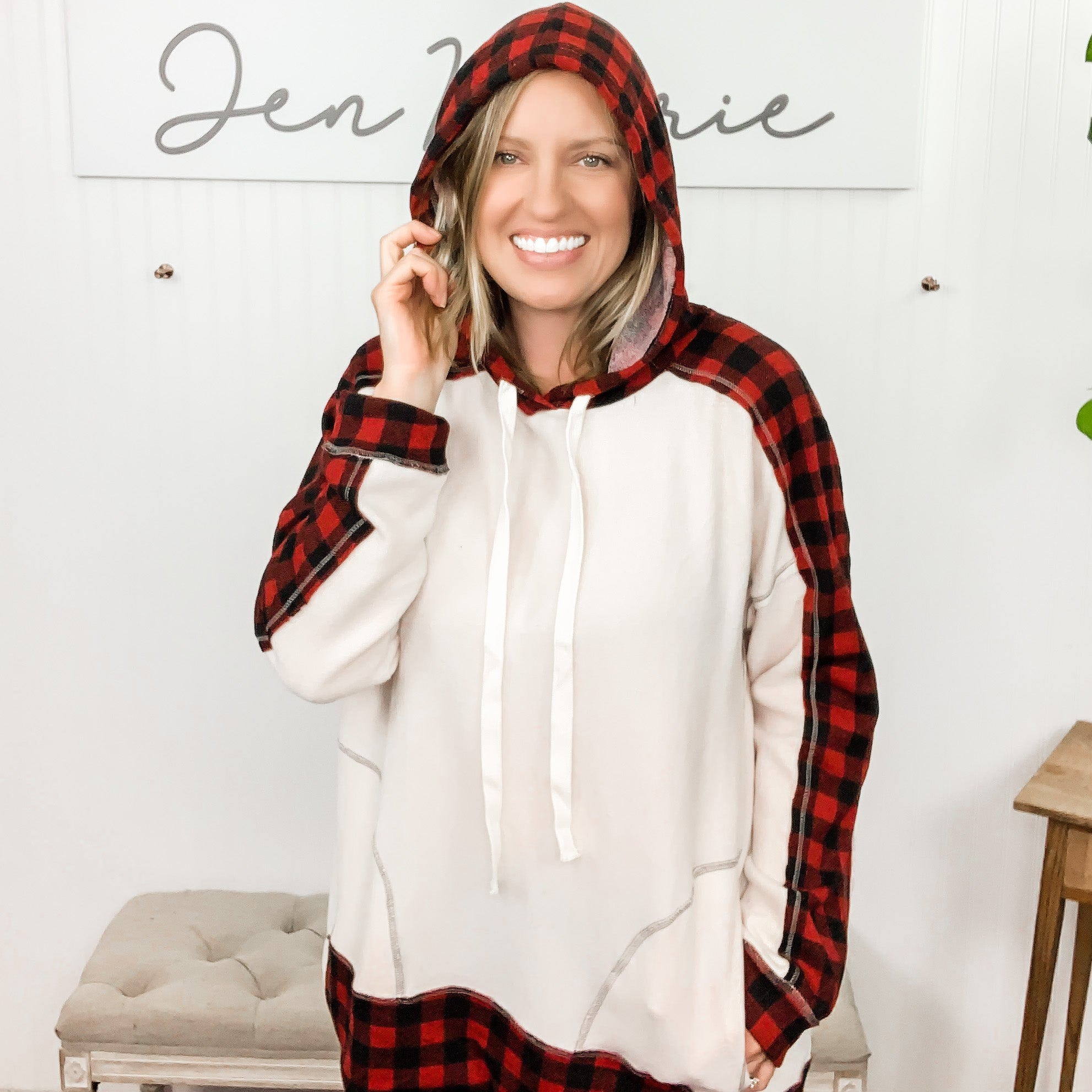 Oatmeal Hoodie w/ Buffalo Plaid Accents and Pockets w/ Reverse Stitching