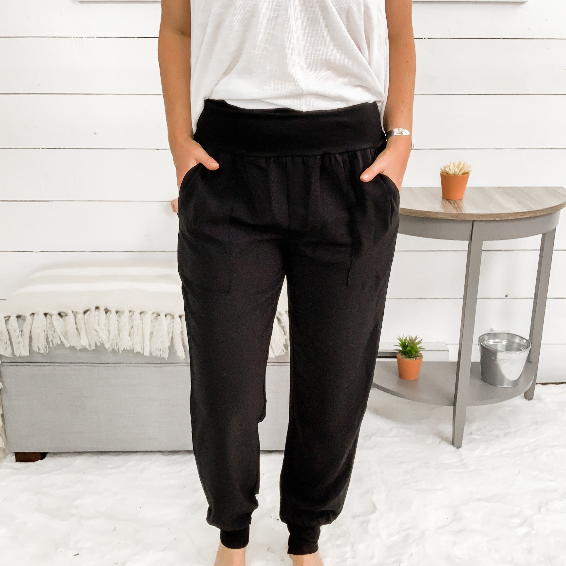 Stretchy, High Waisted Harem Style Pants