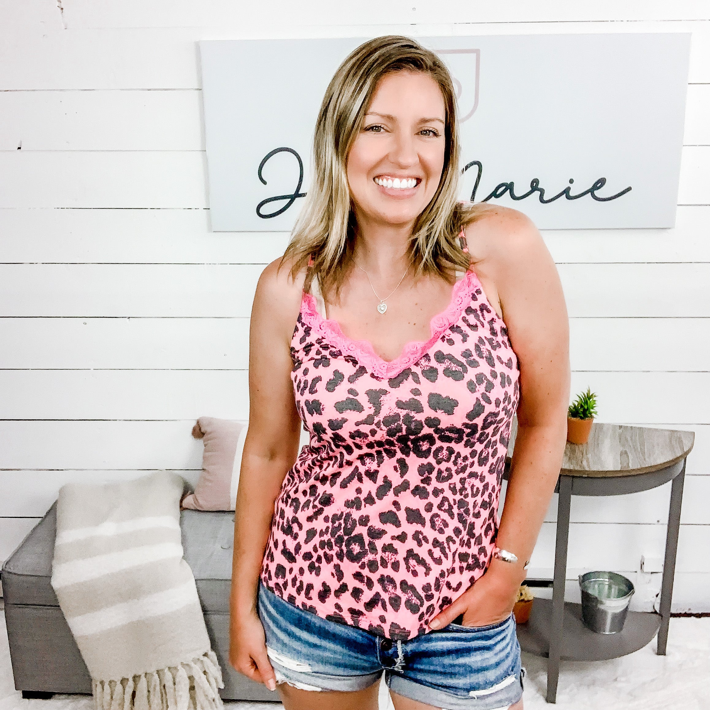 V Neck Animal Print Tank with Neon Lace