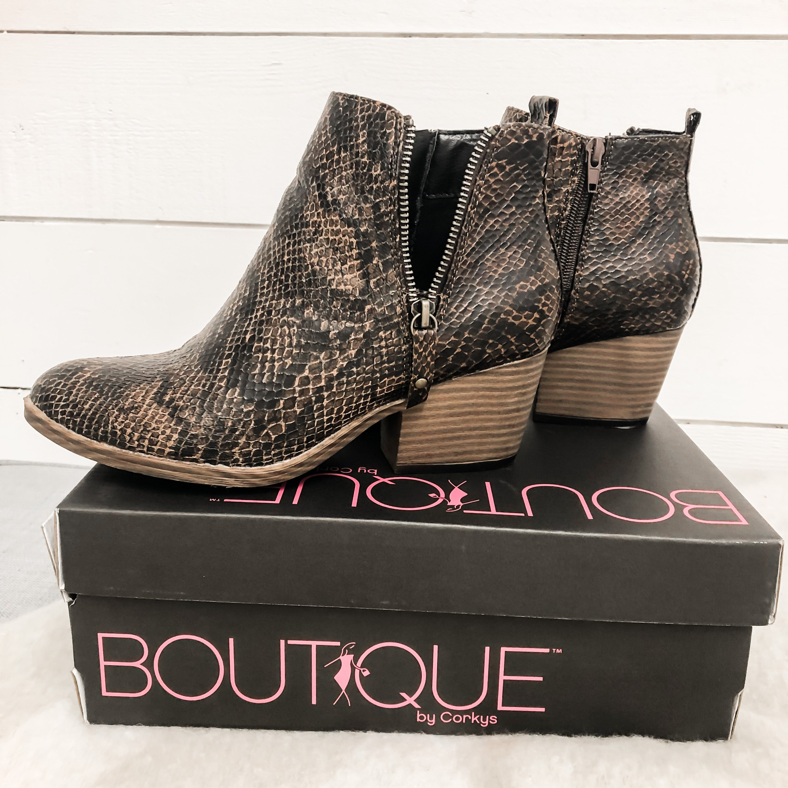 Corkys Tombstone Leopard and Snake Booties