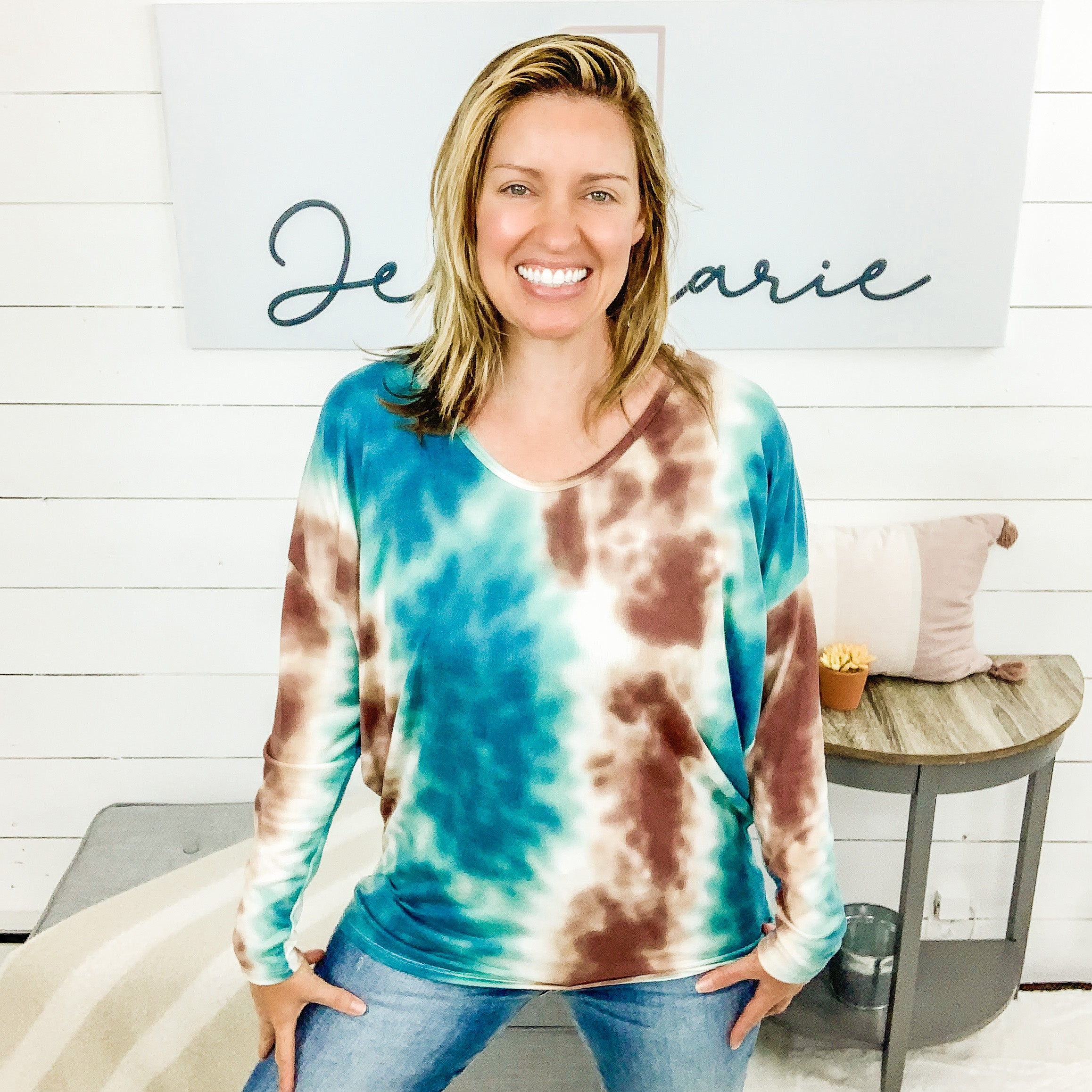 honeyme Drop Shoulder, Long Sleeved Wine & Aqua Tie Dye Tunic