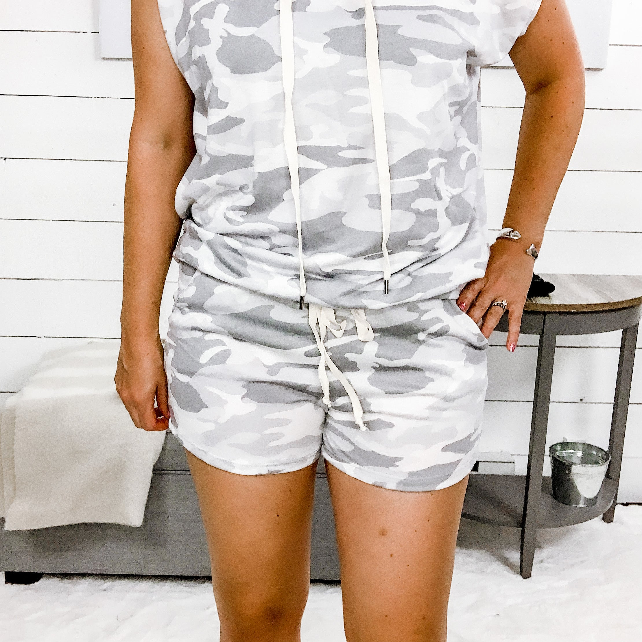 White Birch Grey Camo Shorts w/ Pockets and Drawstring Detail