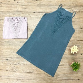 Easel Lace Criss Cross Front Tank