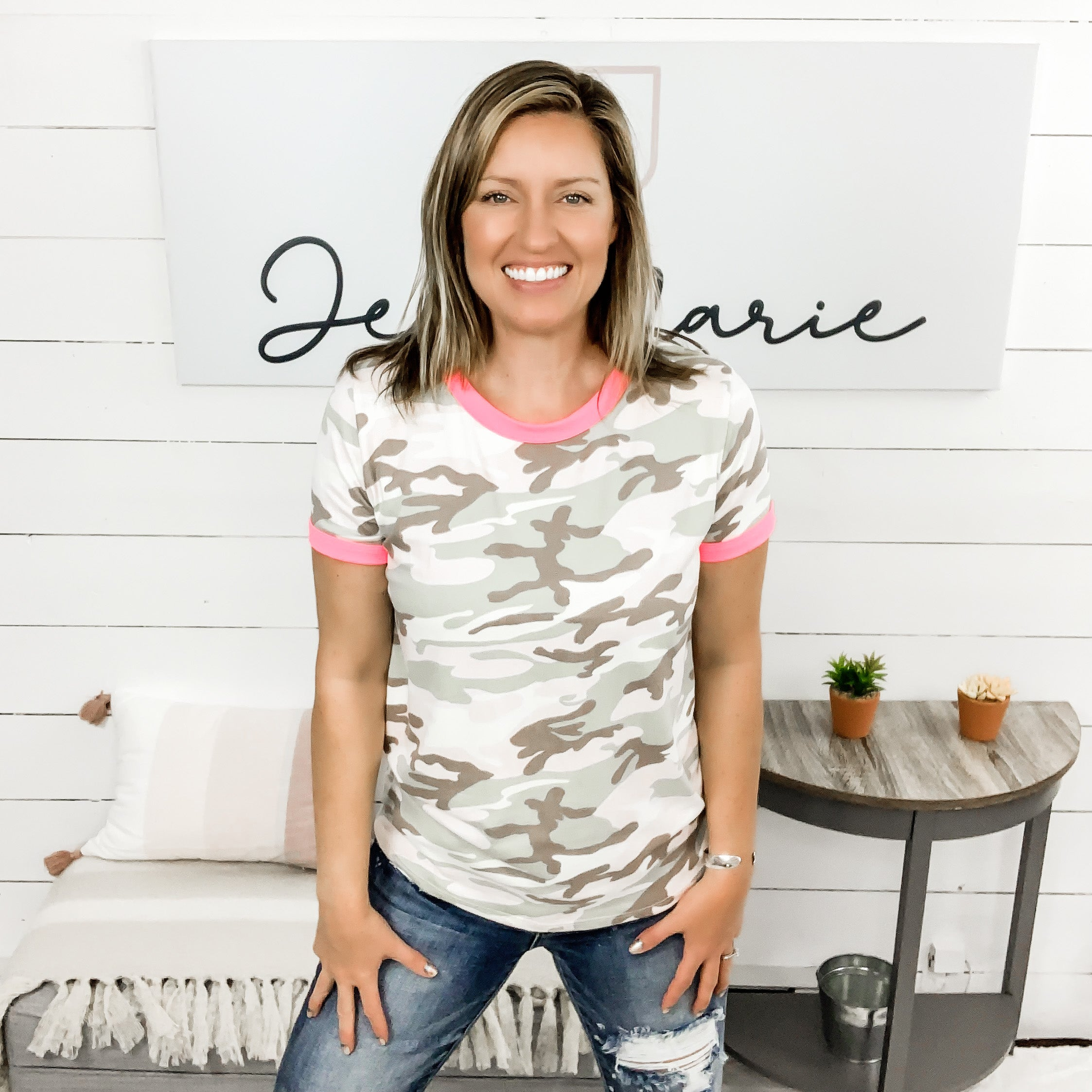 Short Sleeved Camo Top w/ Neon Pink Detail