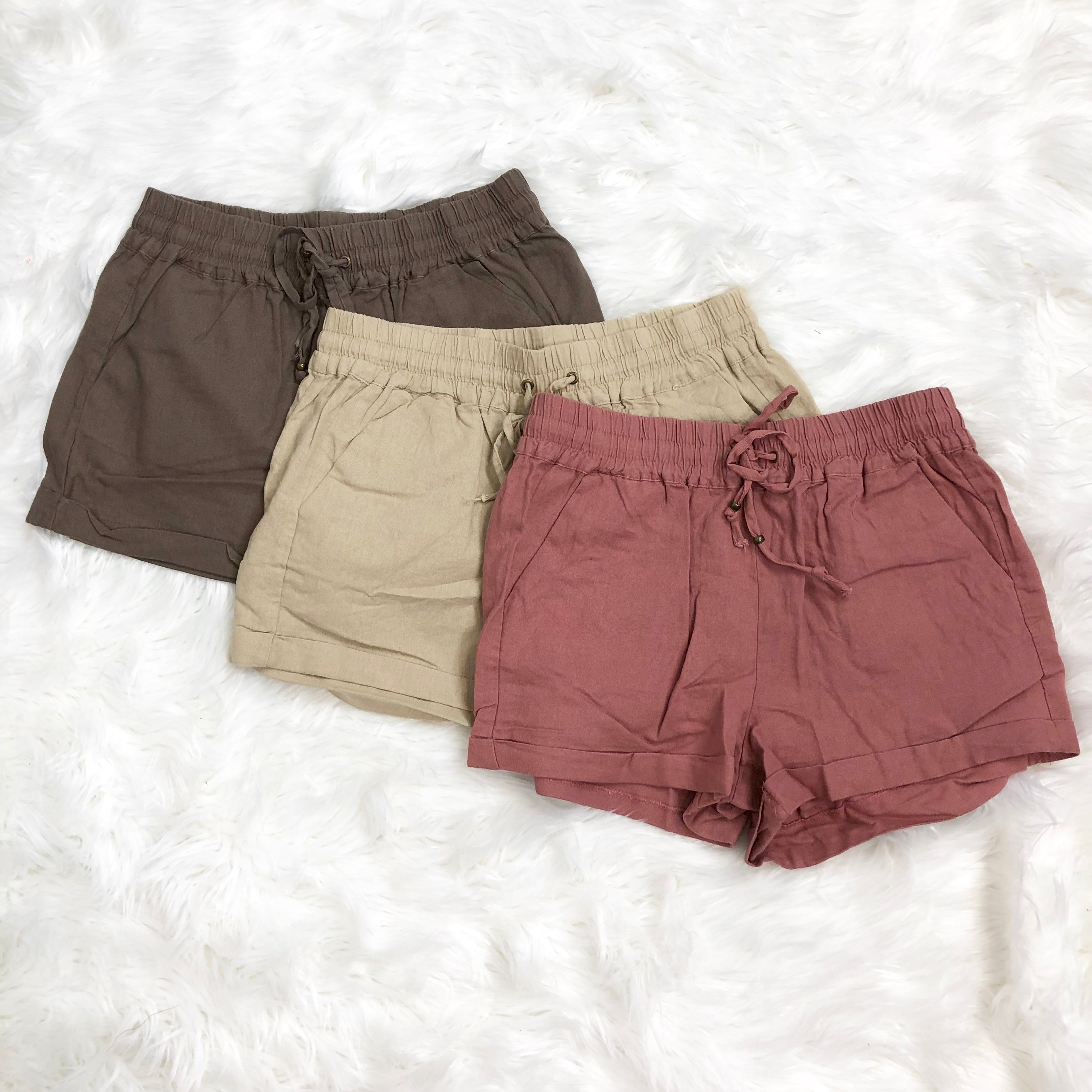 Love Tree Cuffed Linen Shorts