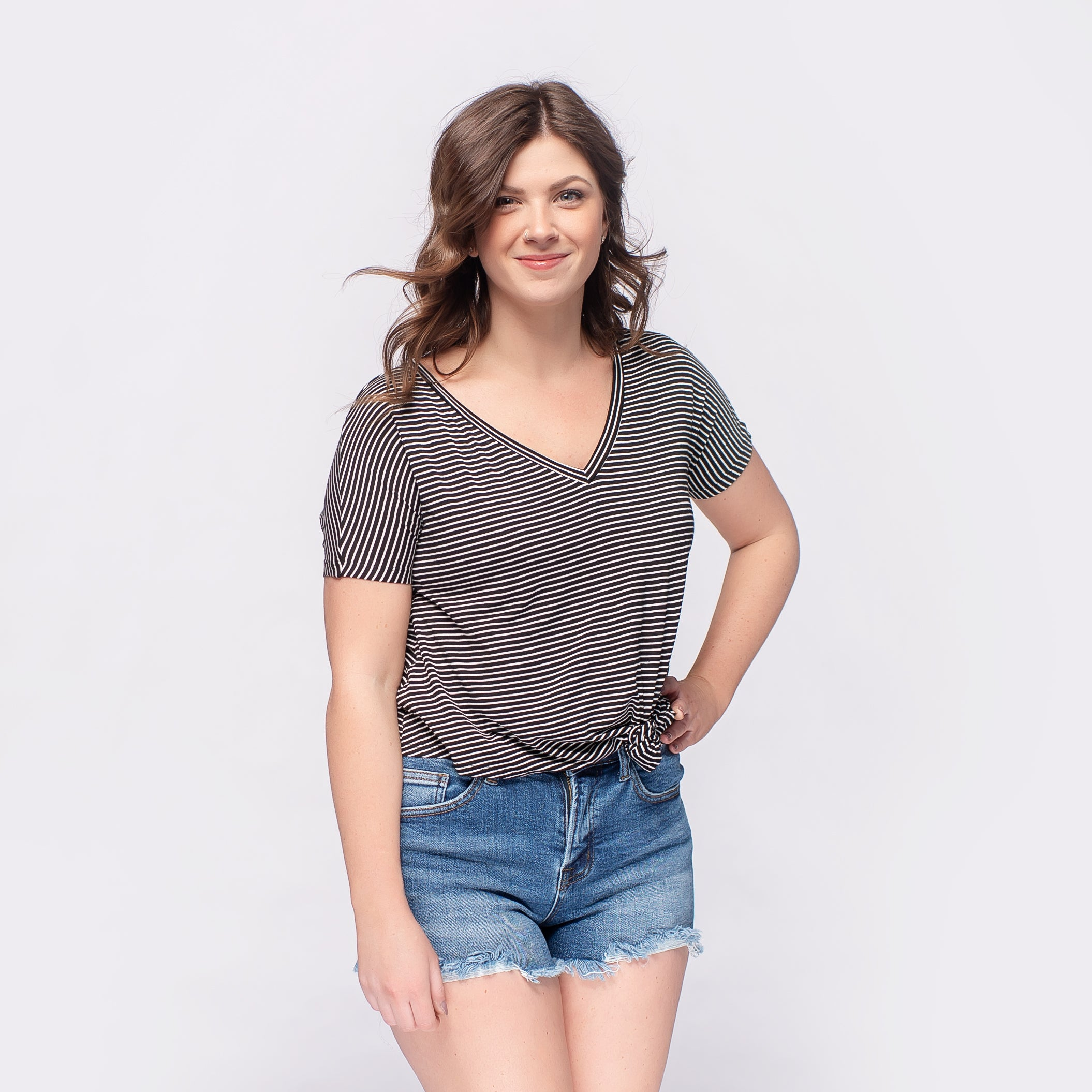 V-Neck Knot Front Tee