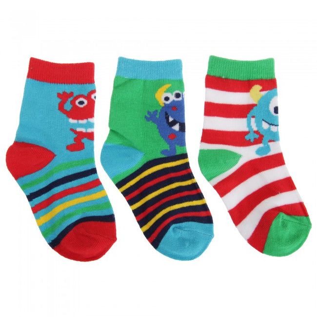 Front - Baby Boys Stripe/Monster Socks (Pack Of 3)