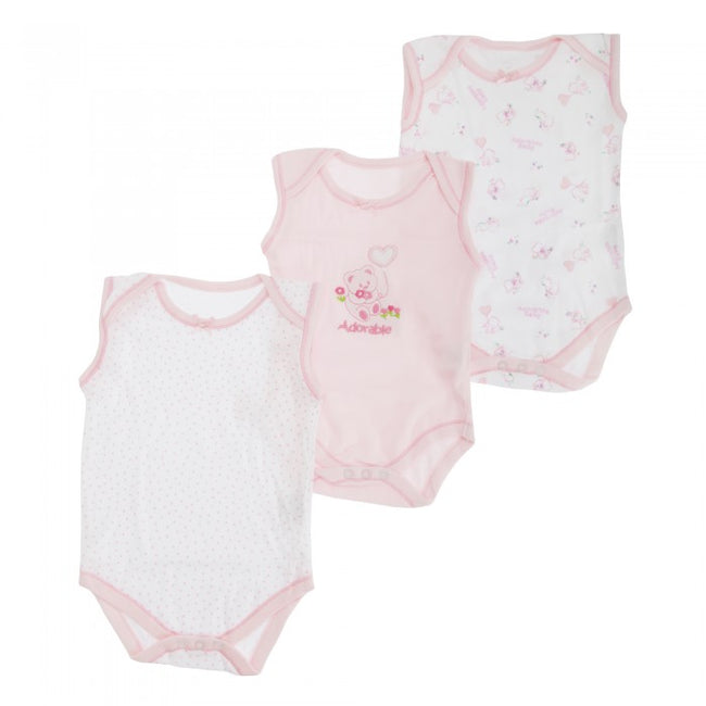 Front - Baby Girls Bear Pattern Sleeveless Bodysuits  (Pack Of 3)